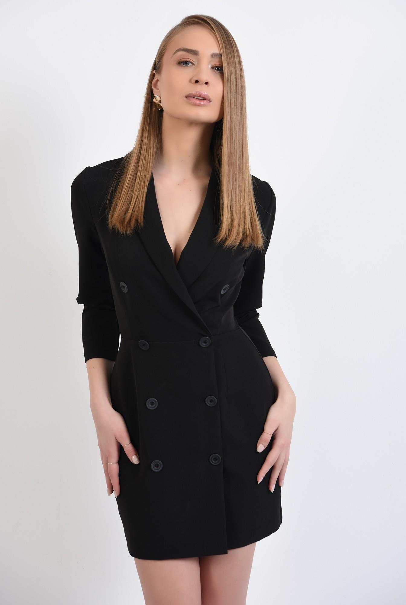 2 - rochie blazer, neagra, scurta, doua randuri de nasturi, revere