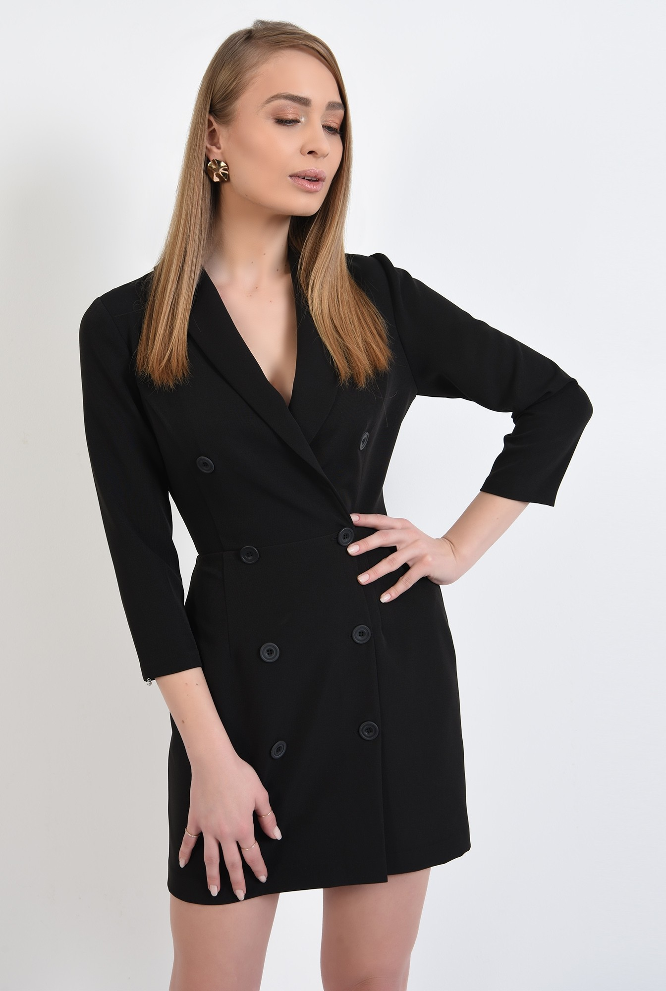 0 - rochie blazer, neagra, scurta, doua randuri de nasturi, revere