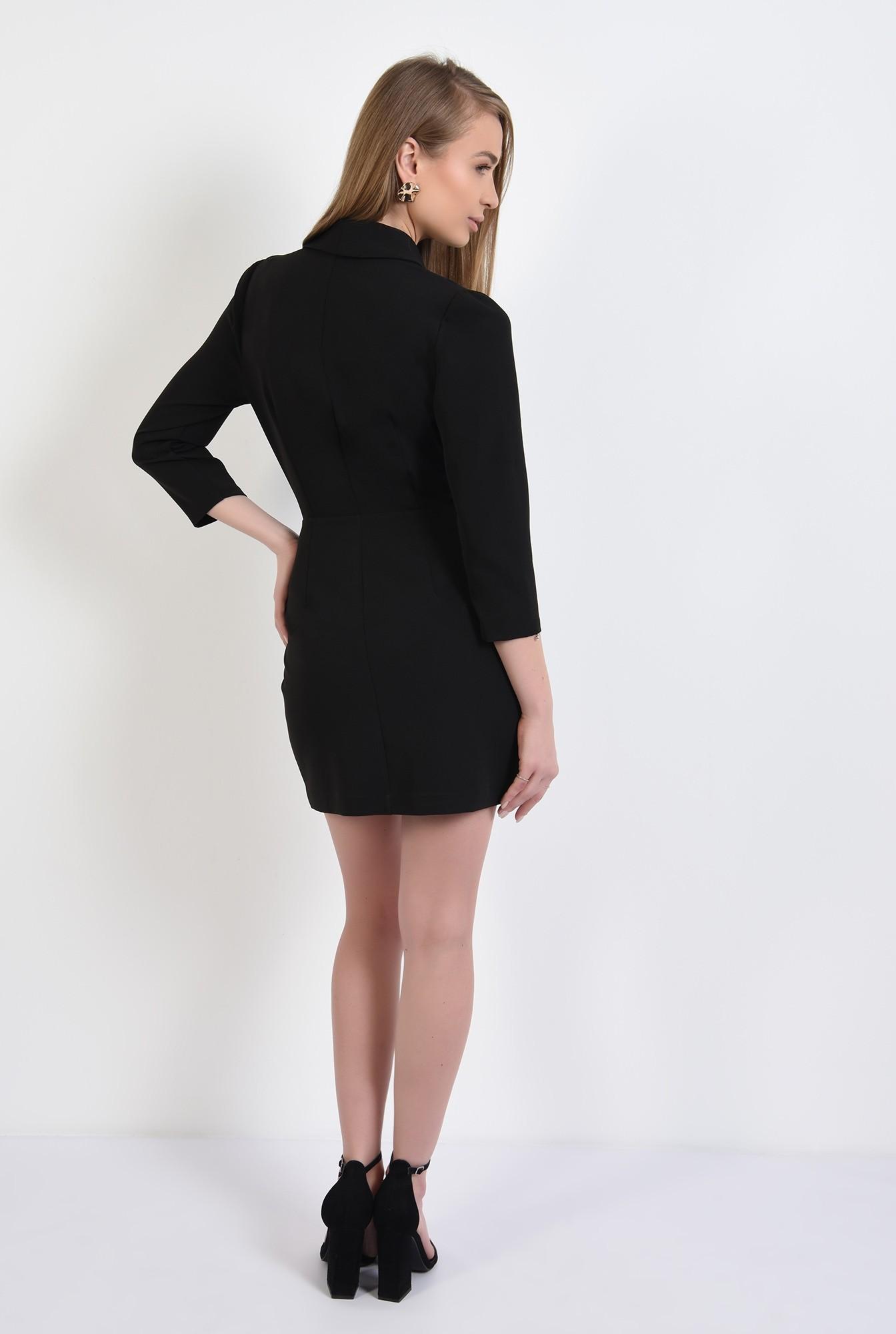 1 - rochie blazer, neagra, scurta, doua randuri de nasturi, revere