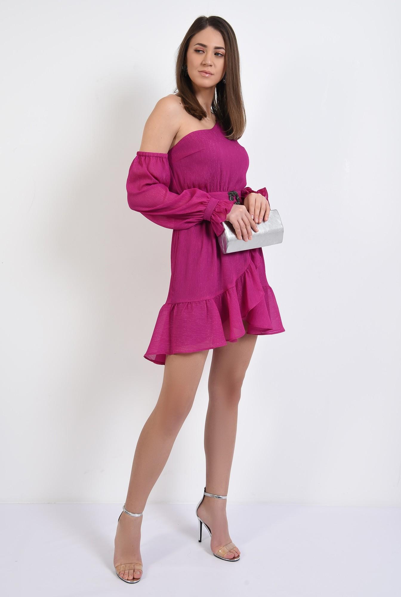 3 - 360 - rochie mini, evazata, decolteu asimetric, maneci bufante, rochie de seara
