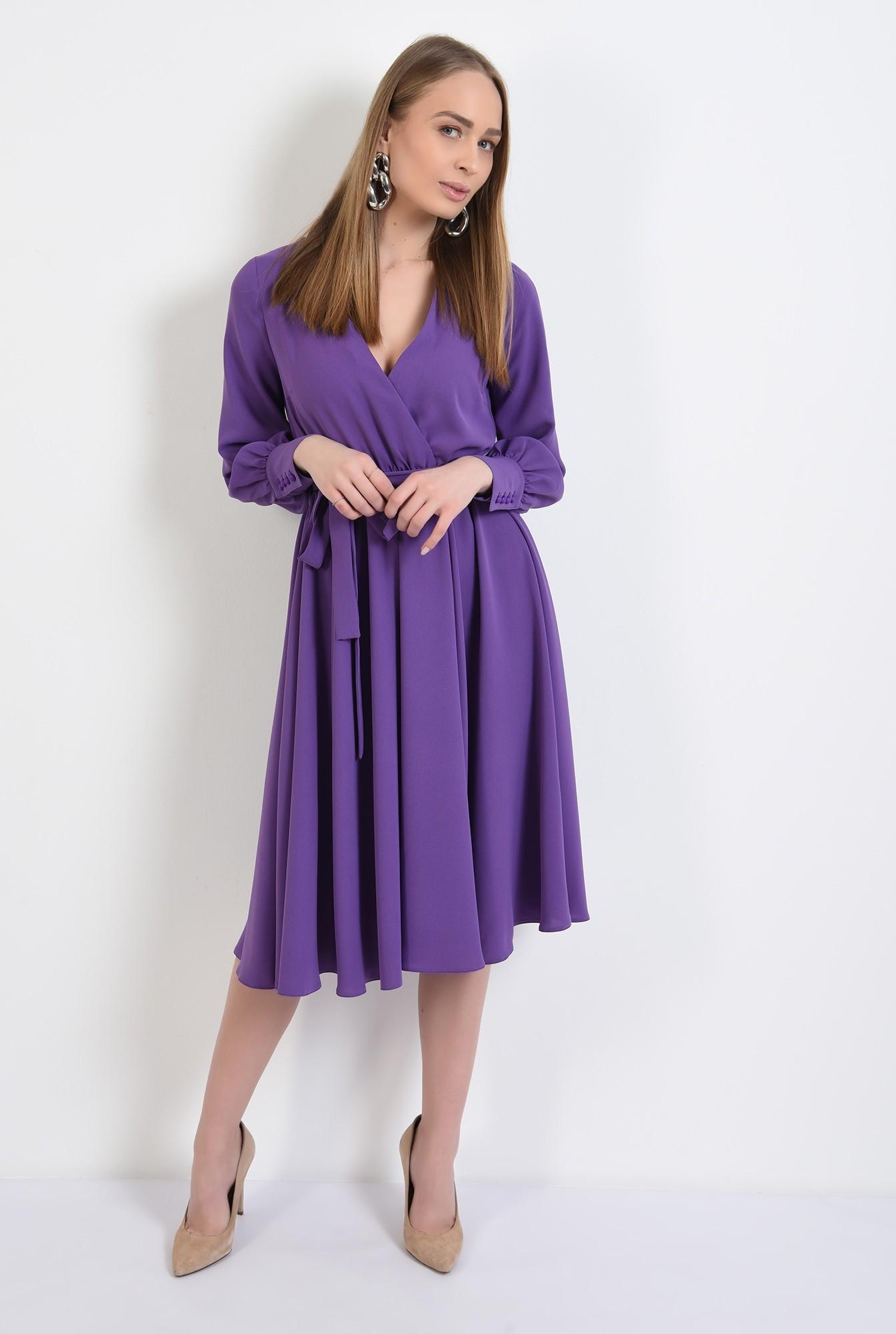 3 -  rochie casual, evazata, midi, cu cordon, anchior petrecut, maneci lungi