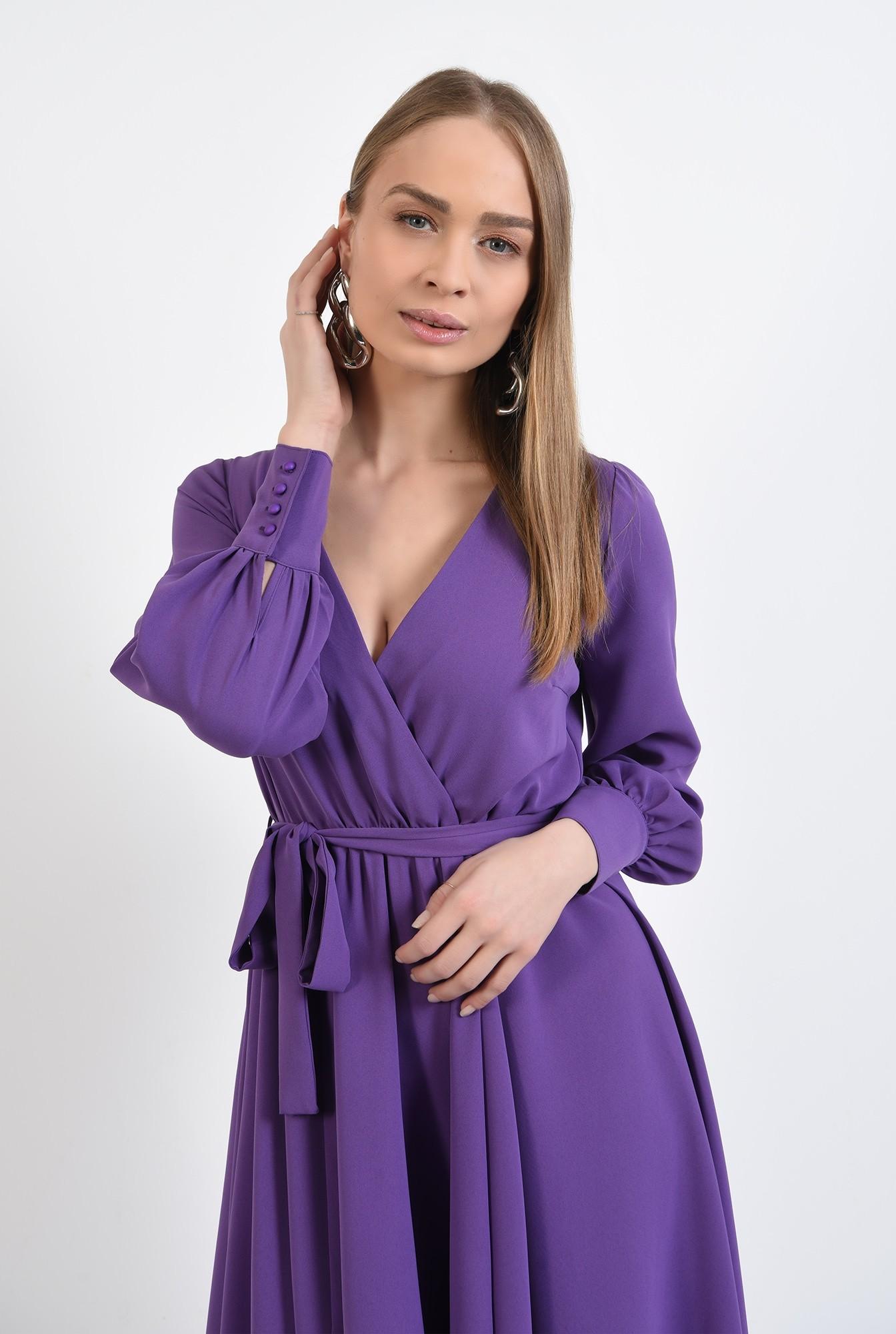 2 -  rochie casual, evazata, midi, cu cordon, anchior petrecut, maneci lungi