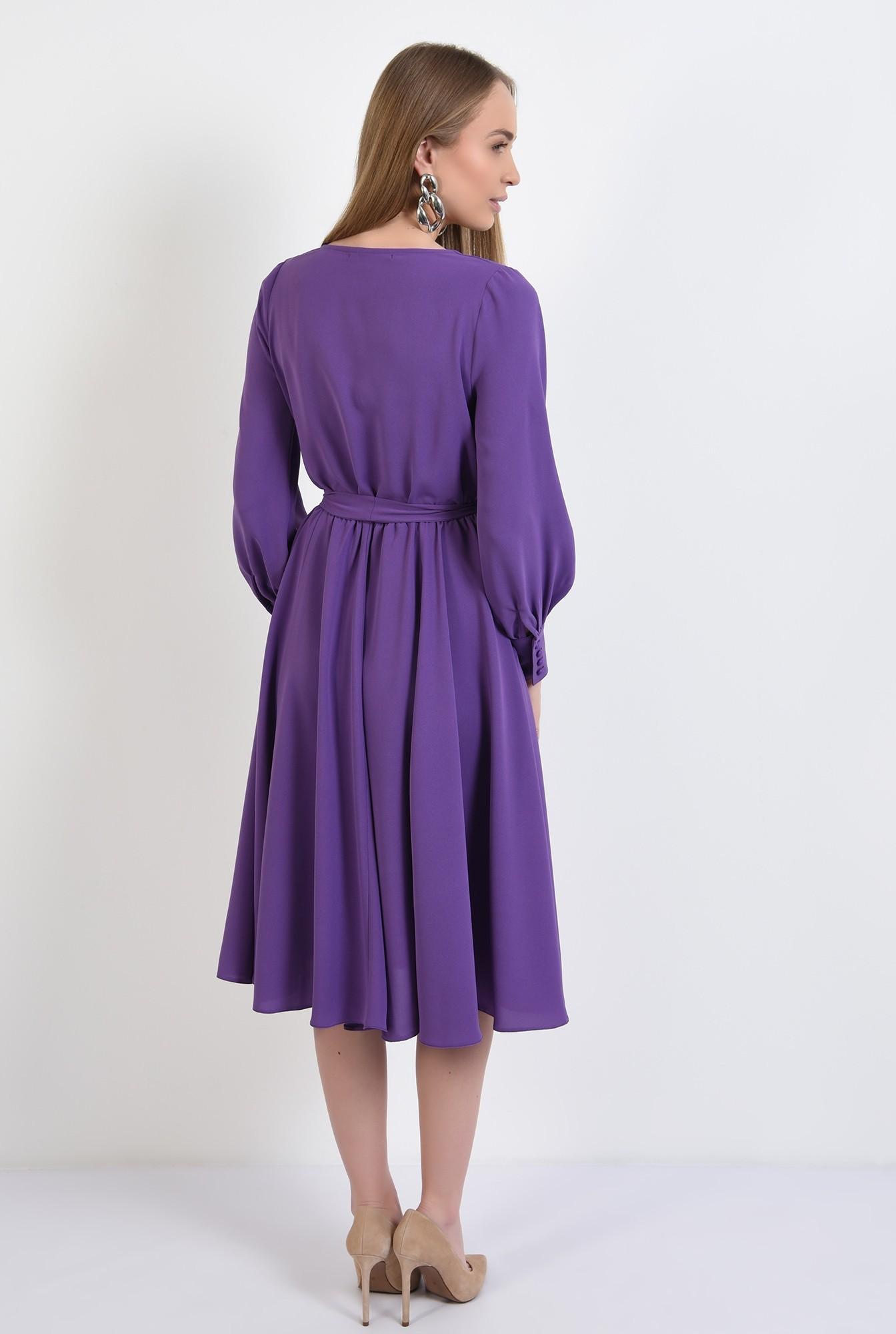 1 -  rochie casual, evazata, midi, cu cordon, anchior petrecut, maneci lungi