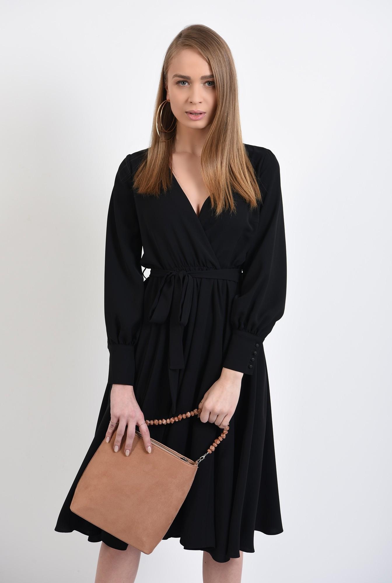 2 - rochie neagra, cu anchior petrecut, midi, evazata, cu cordon, rochie de primavara