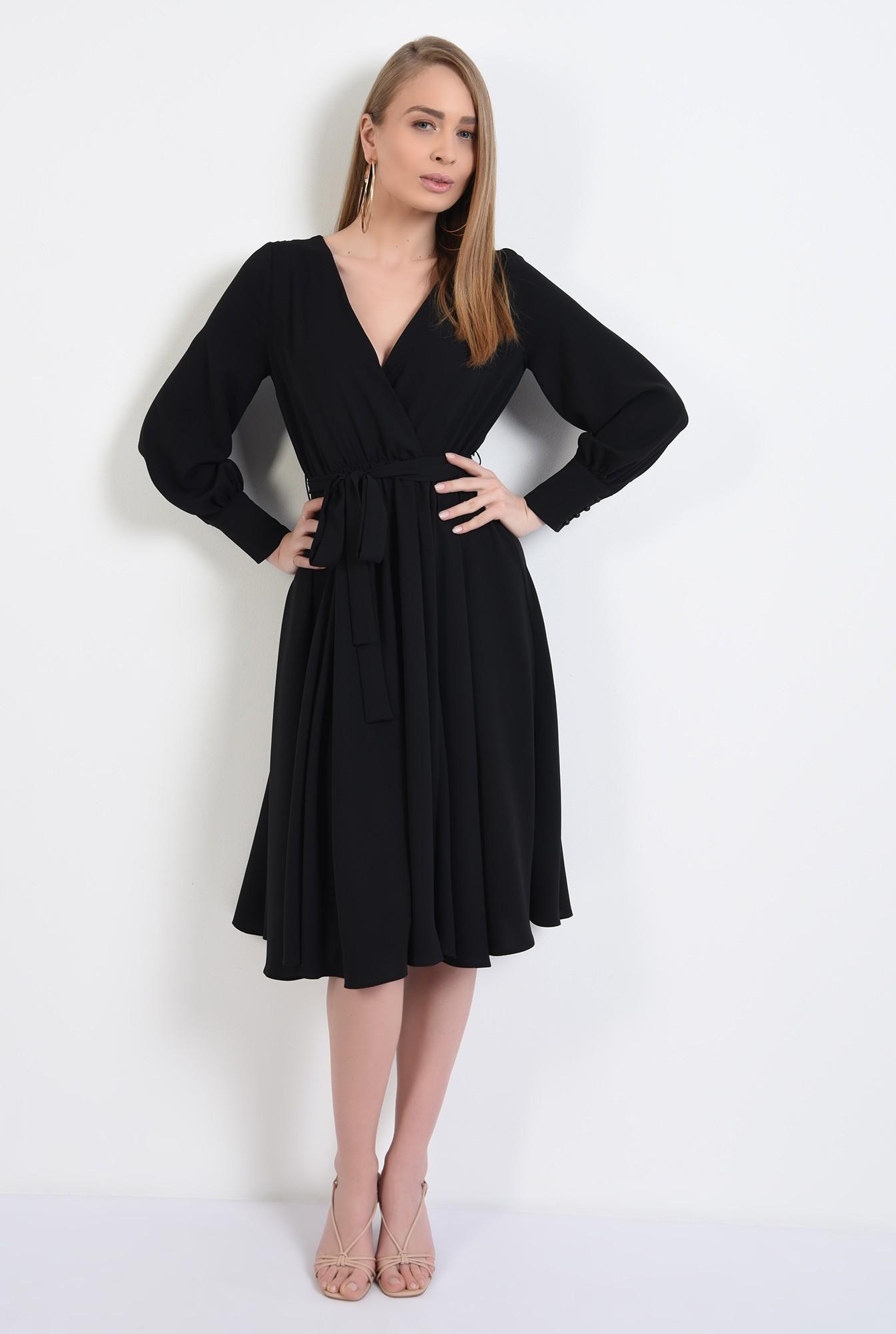 3 - rochie neagra, cu anchior petrecut, midi, evazata, cu cordon, rochie de primavara