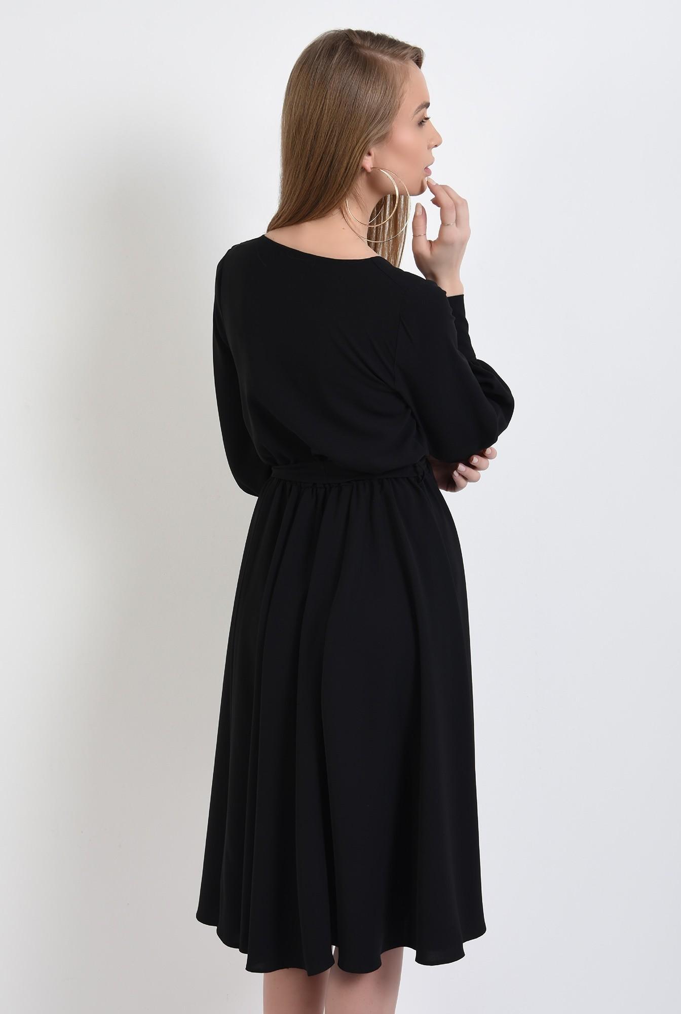 1 - rochie neagra, cu anchior petrecut, midi, evazata, cu cordon, rochie de primavara