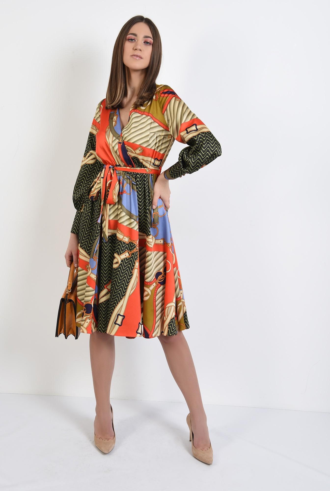 3 - 360 - rochie de primavara, casual, evazata, cu imprimeu, maneci lungi