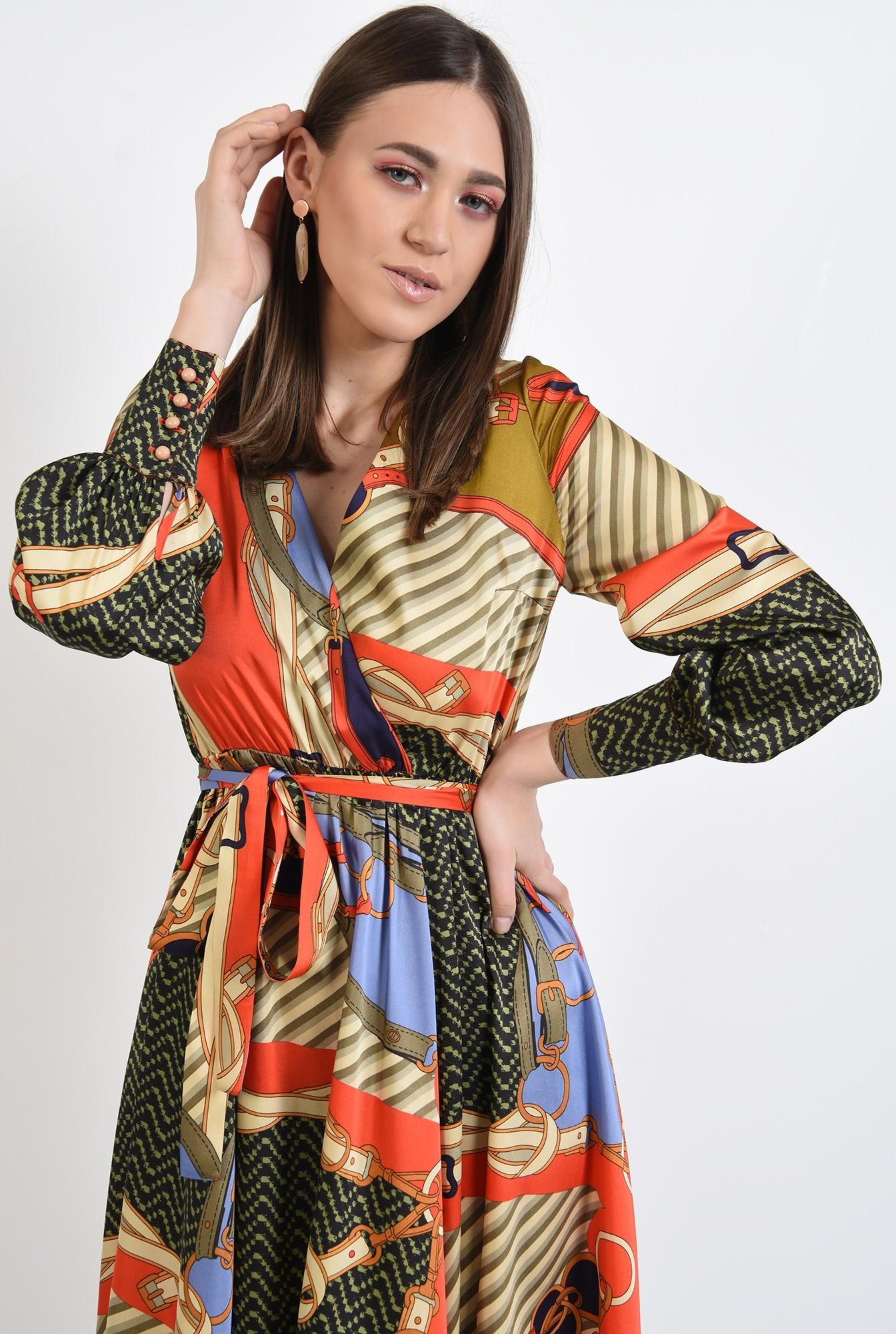 2 - 360 - rochie de primavara, casual, evazata, cu imprimeu, maneci lungi