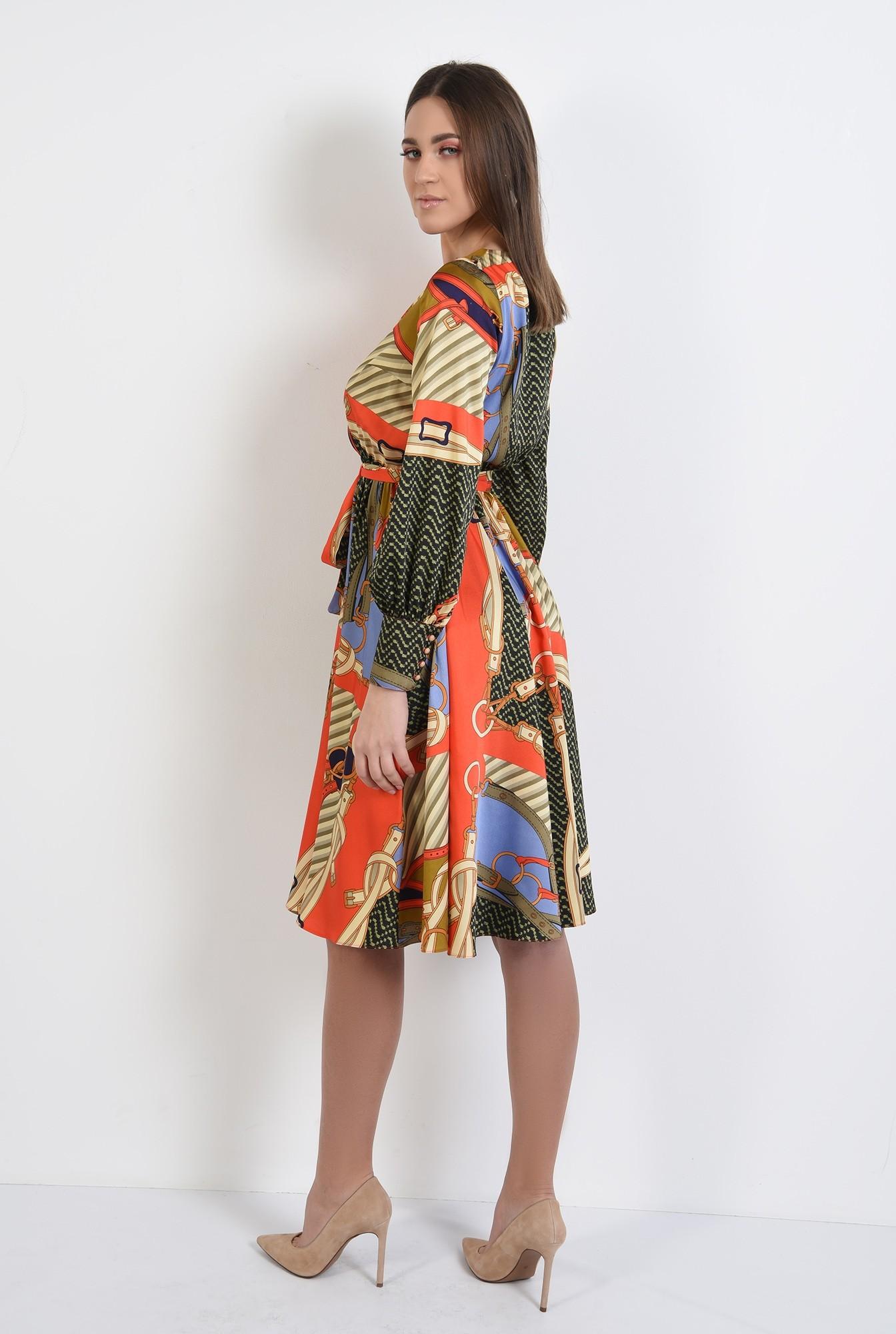 1 - 360 - rochie de primavara, casual, evazata, cu imprimeu, maneci lungi