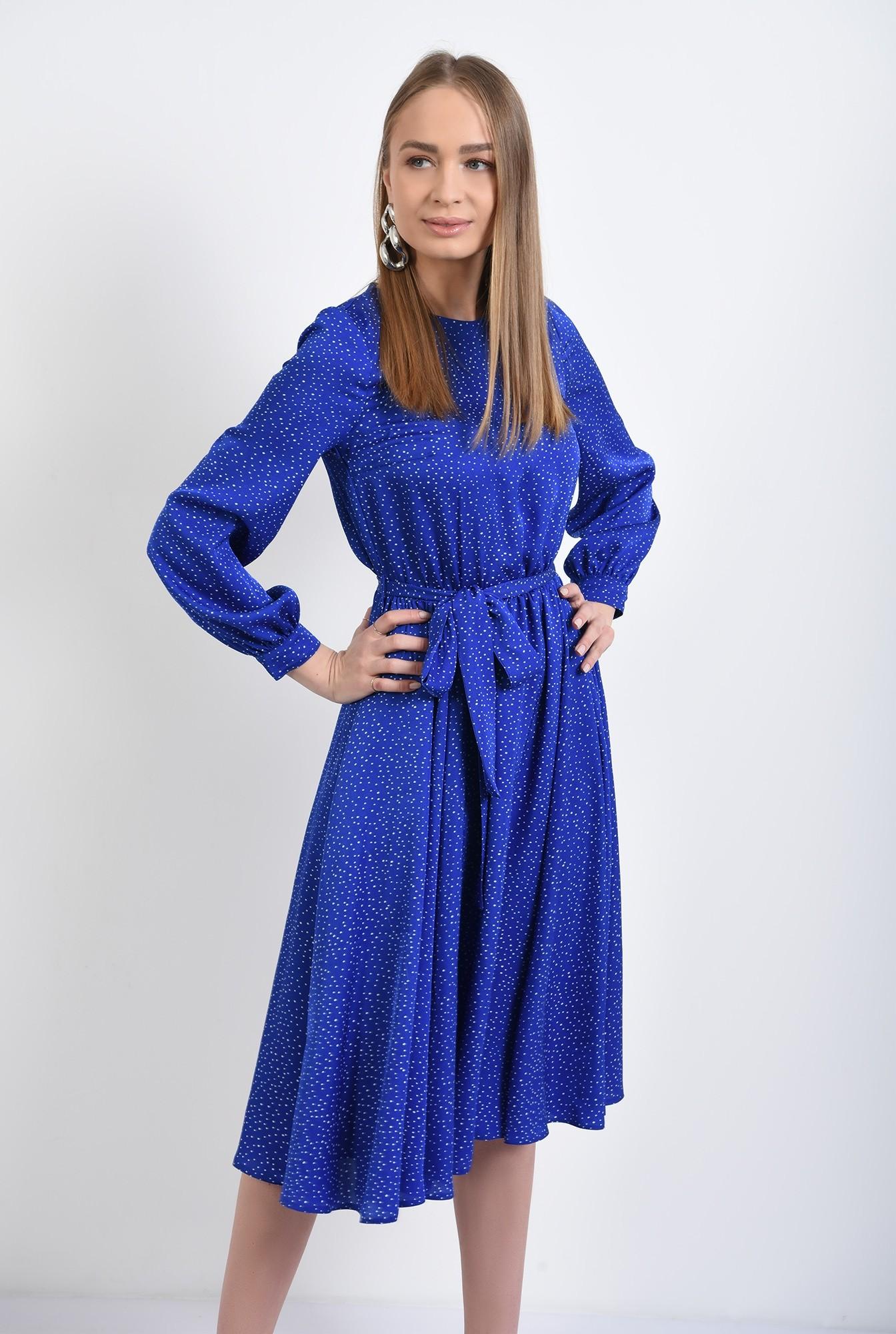 0 - 360 - rochie midi, clos, cu buline, cu nasturi la spate, rochie de primavara