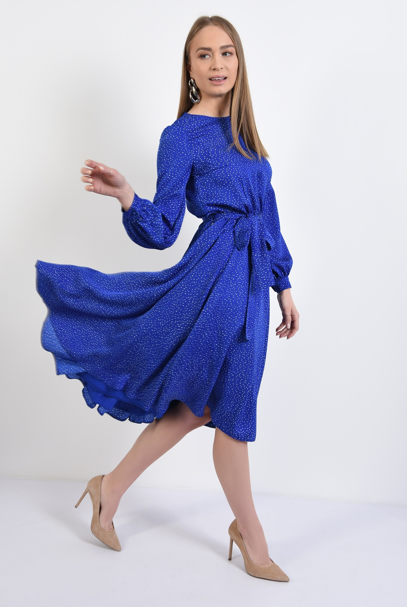 3 - 360 - rochie midi, clos, cu buline, cu nasturi la spate, rochie de primavara