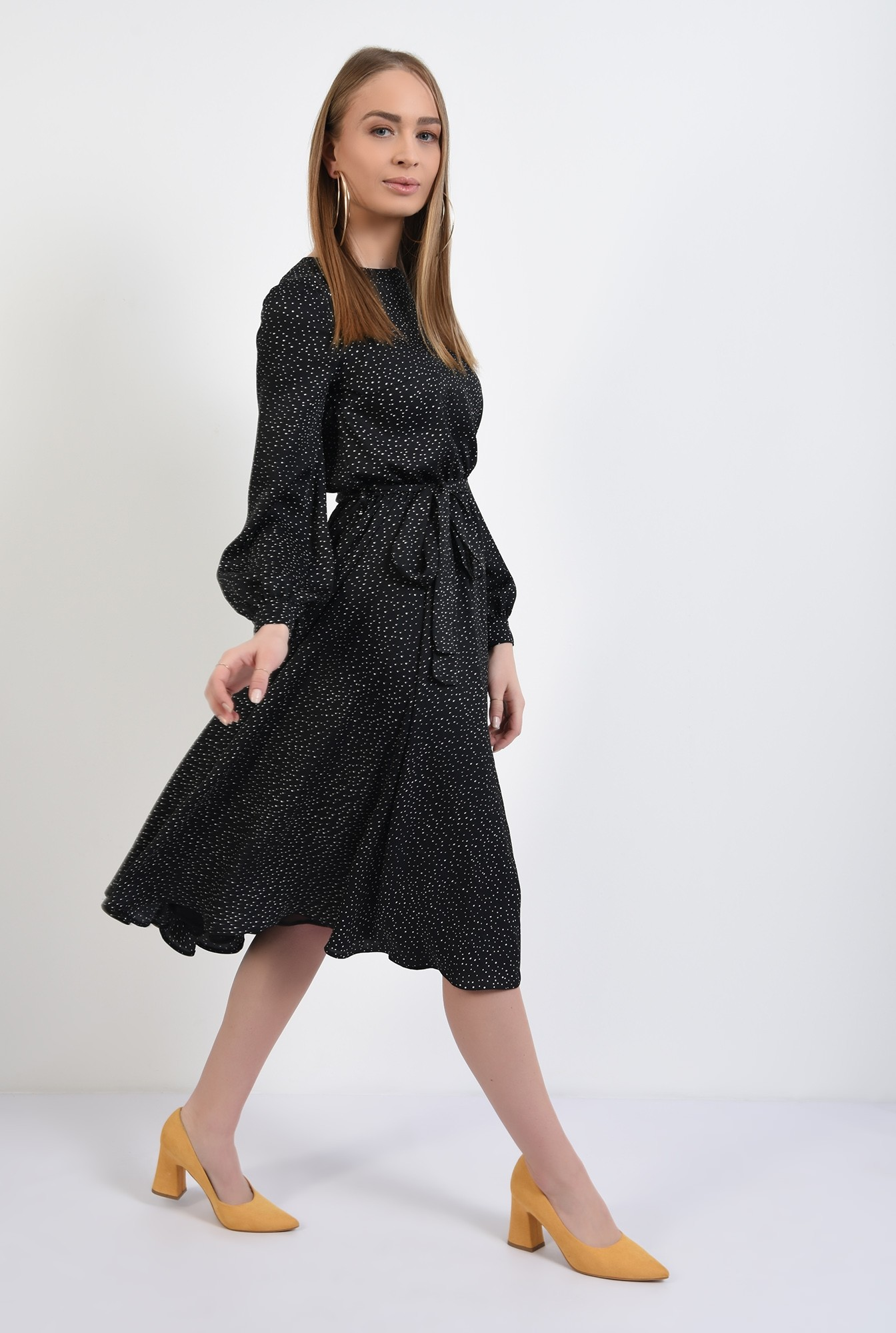 3 - 360 - rochie midi, cu picouri, satin imprimat, clos, rochie de primavara