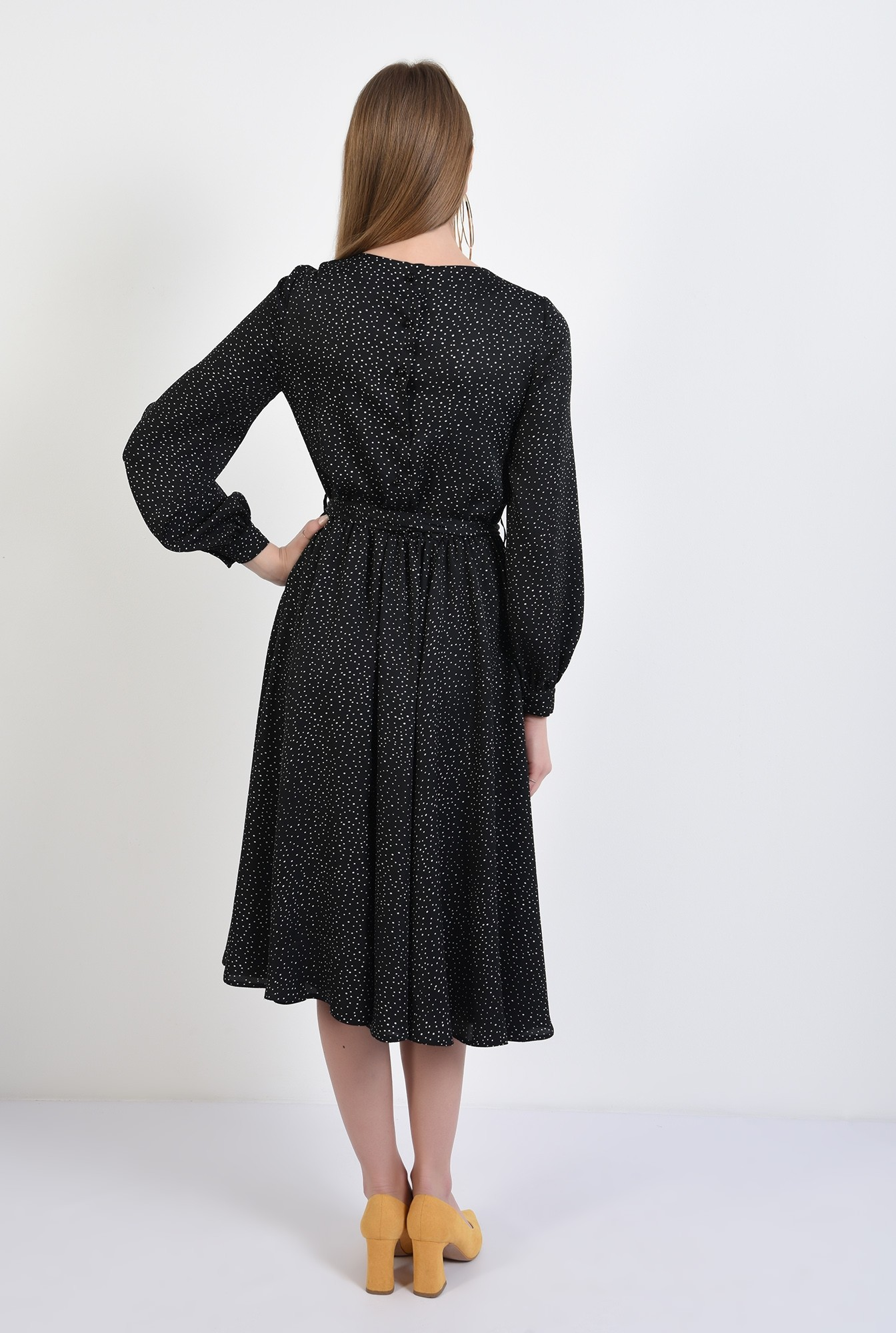 1 - 360 - rochie midi, cu picouri, satin imprimat, clos, rochie de primavara
