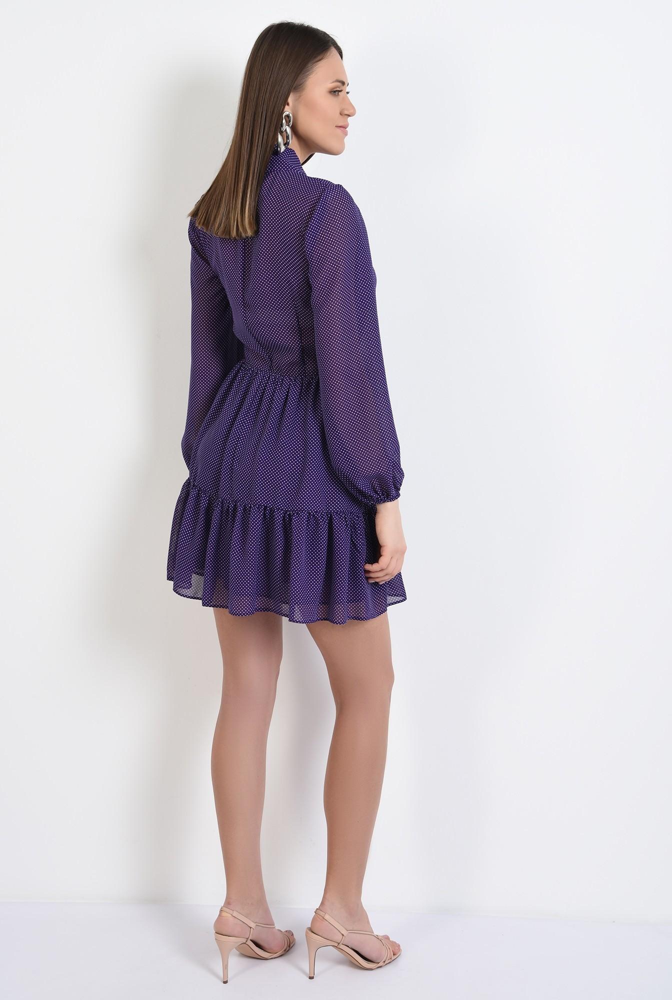 1 - rochie mini, cu volan, funda la gat, buline, voal, rochie de primavara