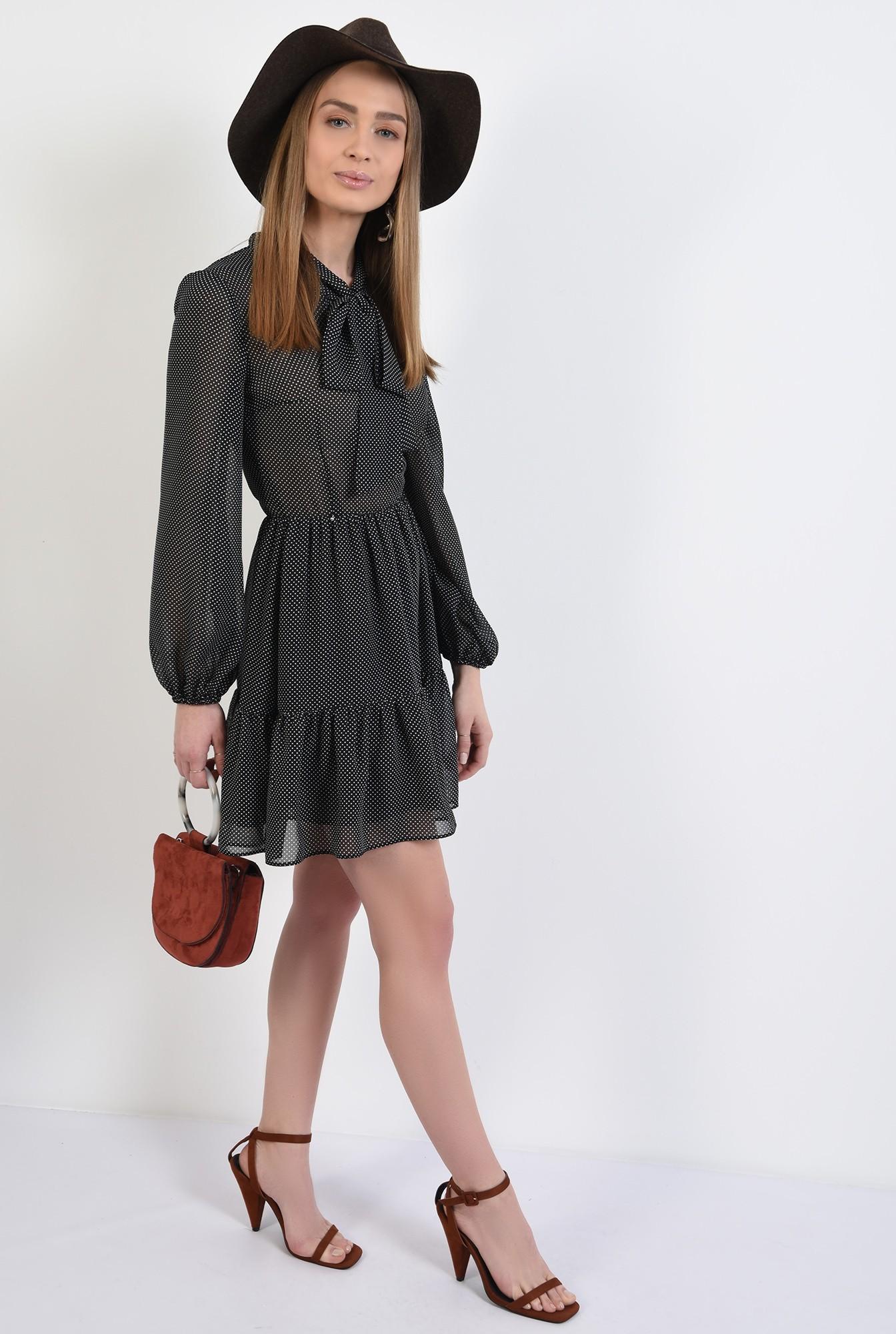 3 -  rochie mini, din voal, cu buline, maneci bufante, cu volan