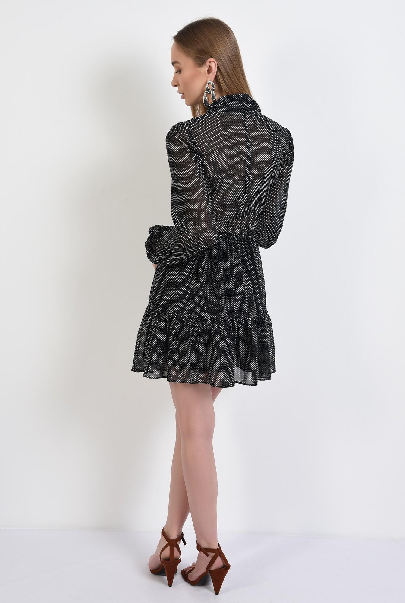 1 -  rochie mini, din voal, cu buline, maneci bufante, cu volan