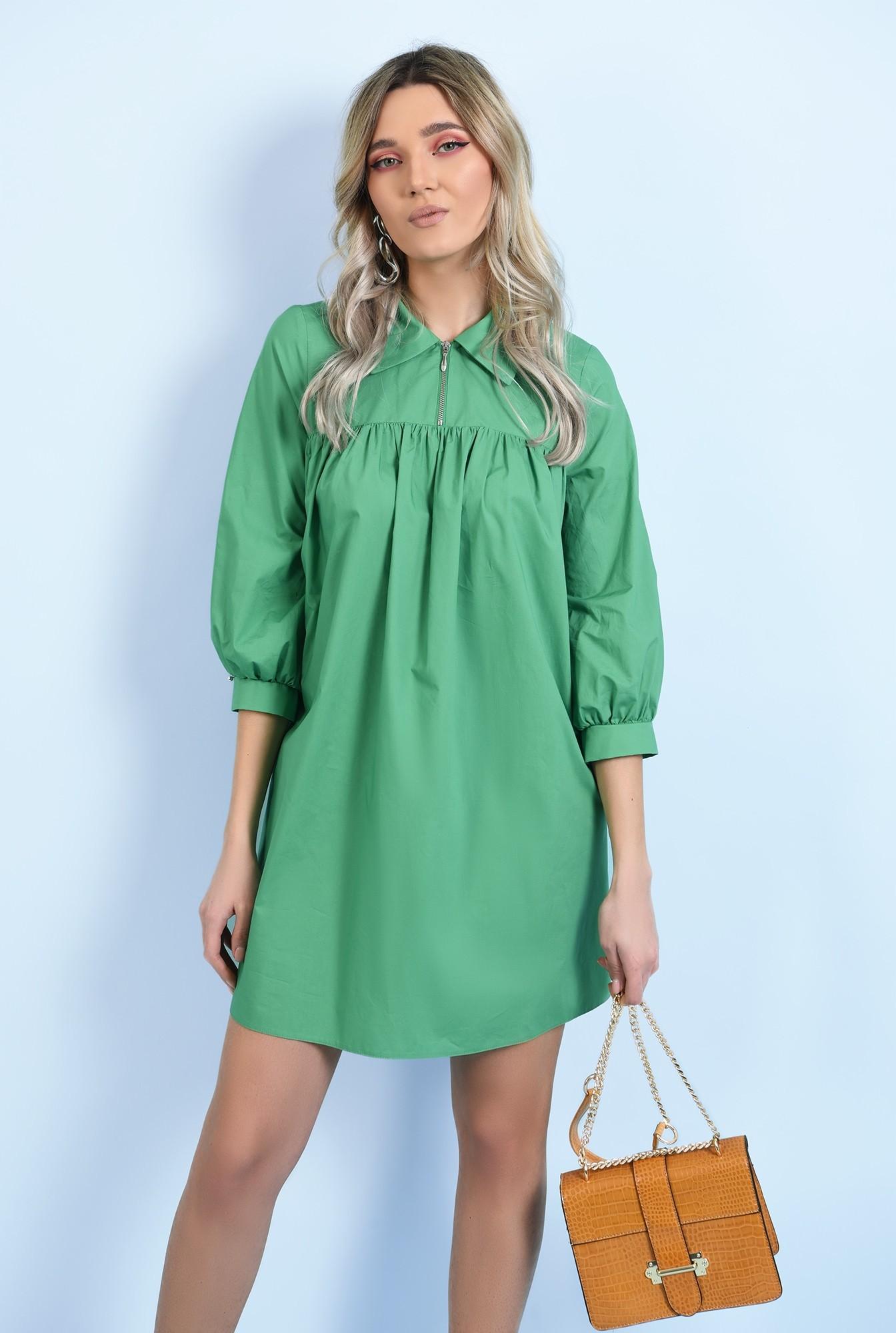 0 - 360 - rochie casual, din bumbac, mini, evazata, cu platca, cu fermoar