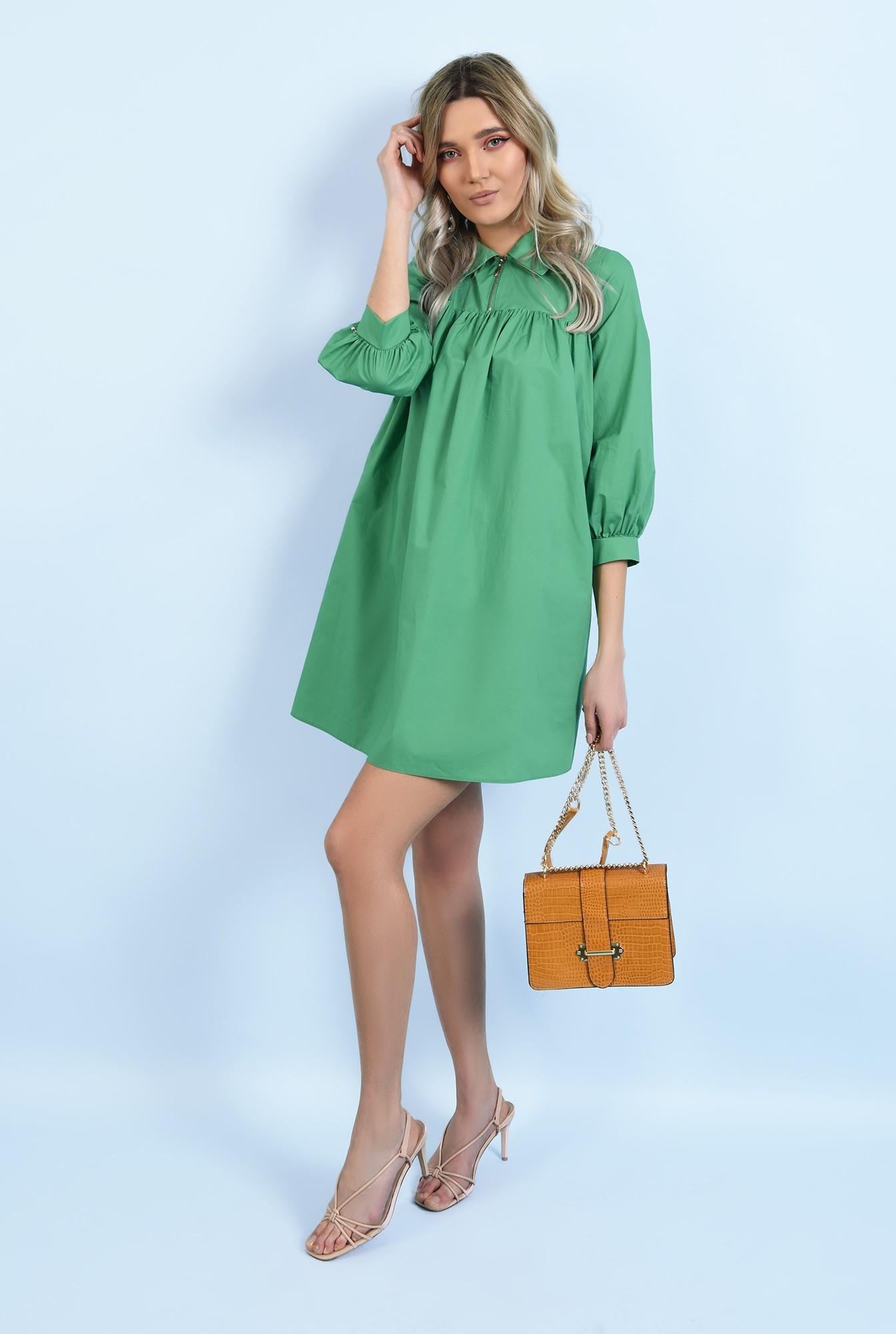 3 - 360 - rochie casual, din bumbac, mini, evazata, cu platca, cu fermoar