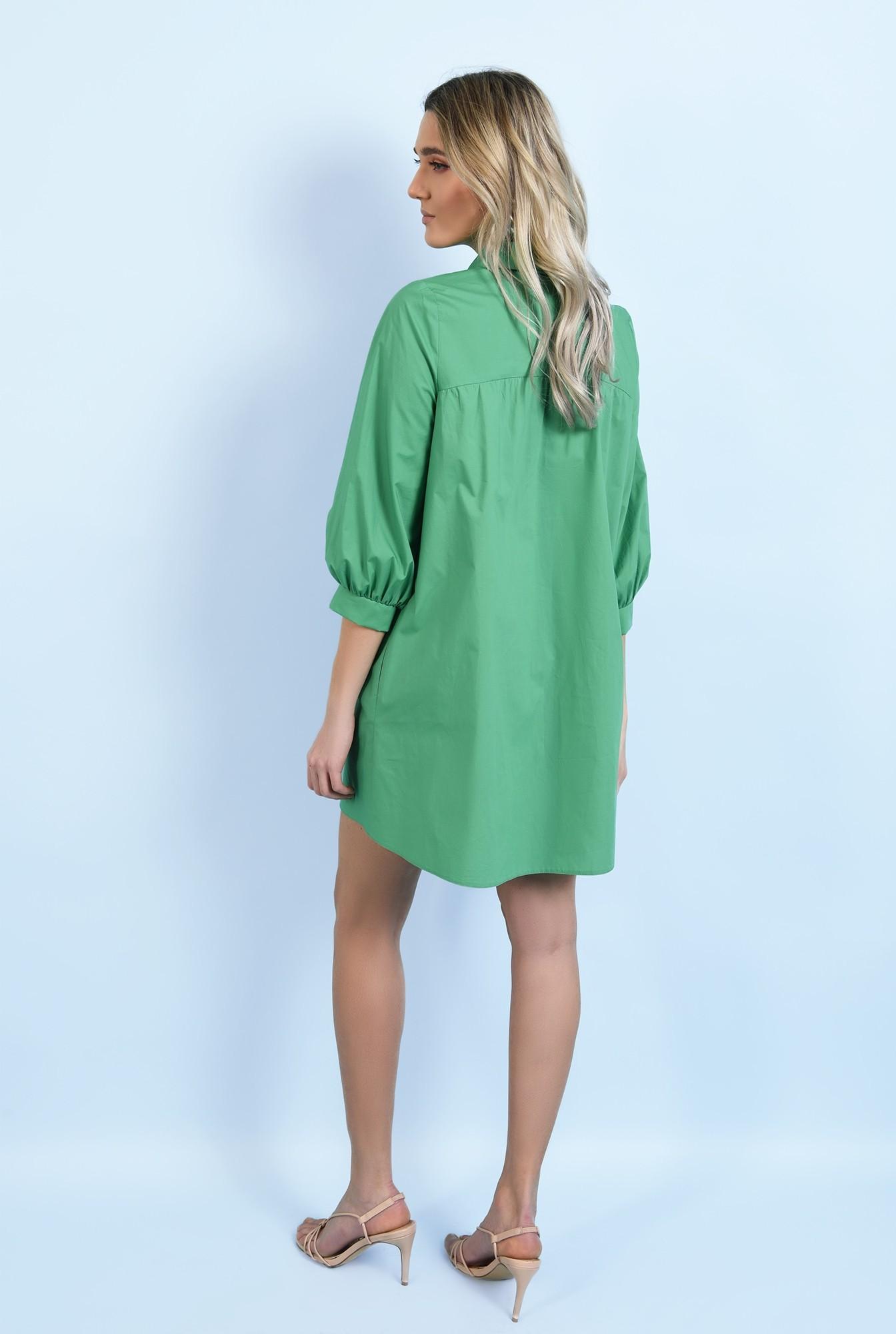1 - 360 - rochie casual, din bumbac, mini, evazata, cu platca, cu fermoar