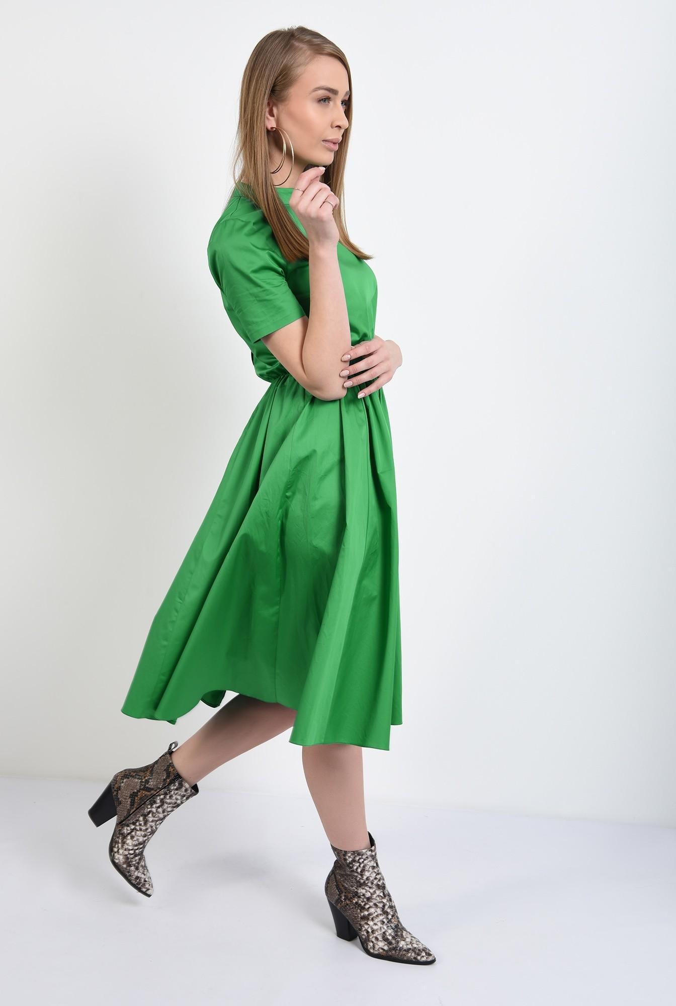 3 - rochie midi, evazata, cu nasturi pe spate, cu guler, maneci scurte, rochie de primavara