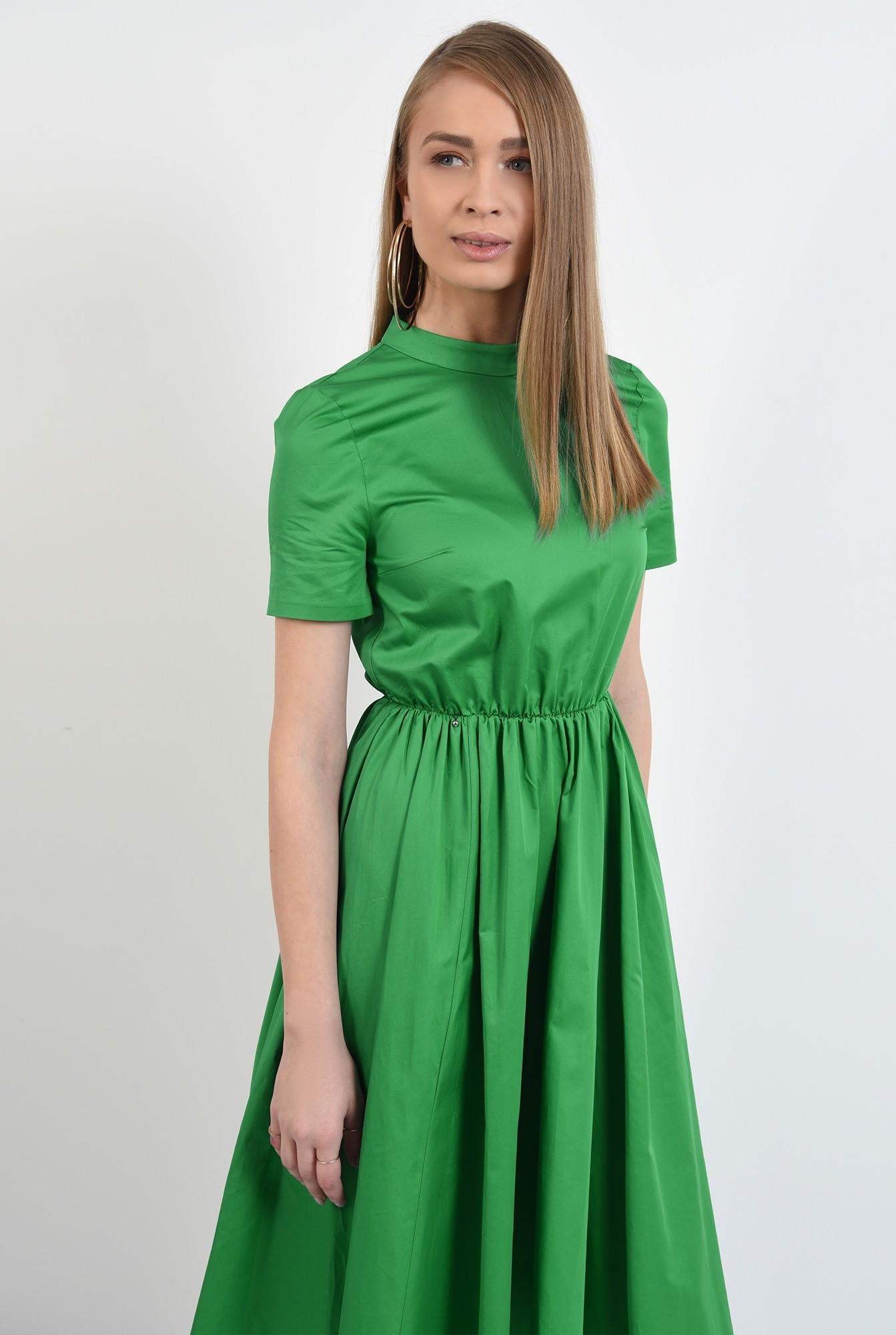 2 - rochie midi, evazata, cu nasturi pe spate, cu guler, maneci scurte, rochie de primavara