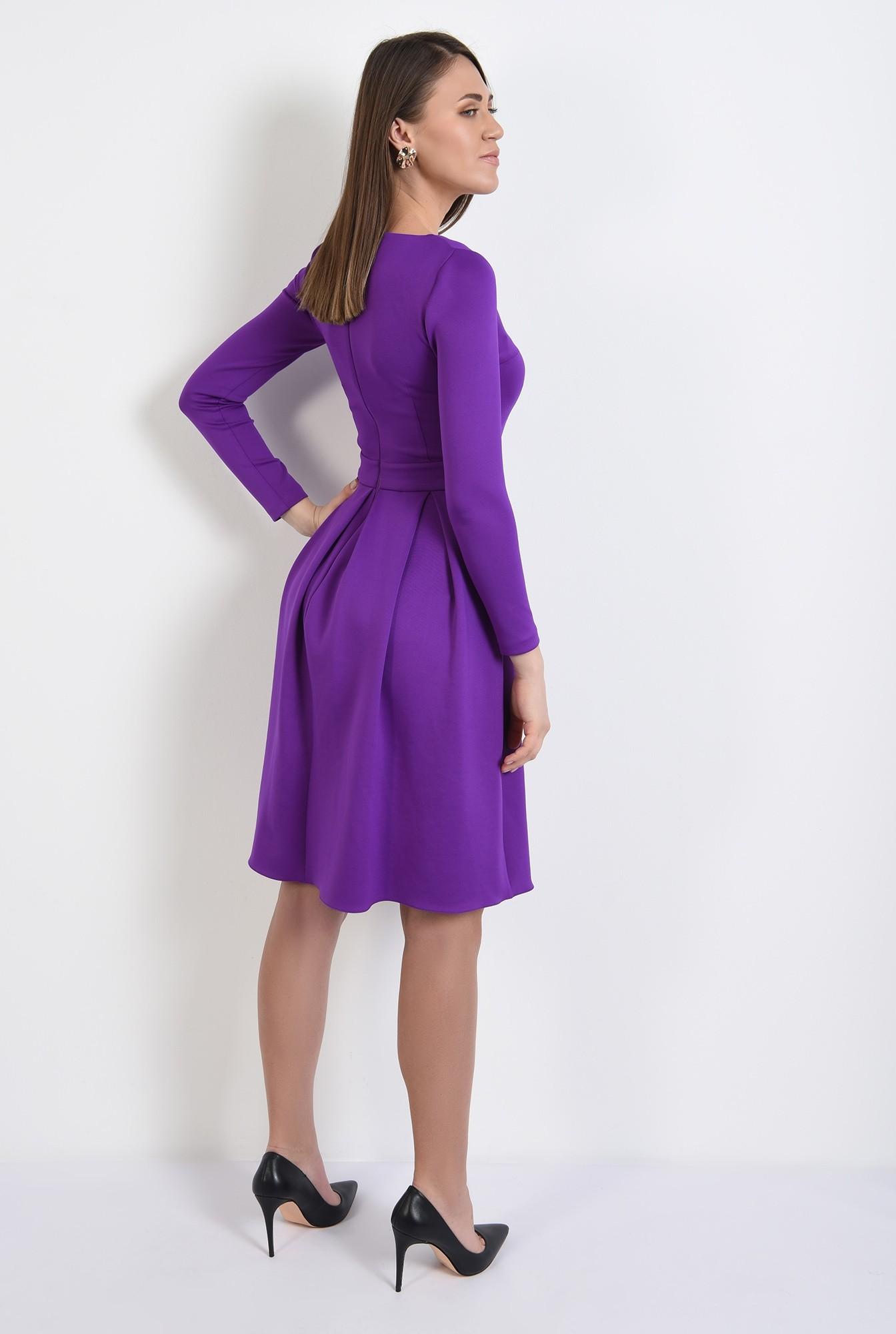 1 - rochie eleganta, evazata, mov, cu pliuri late, maneci stretch