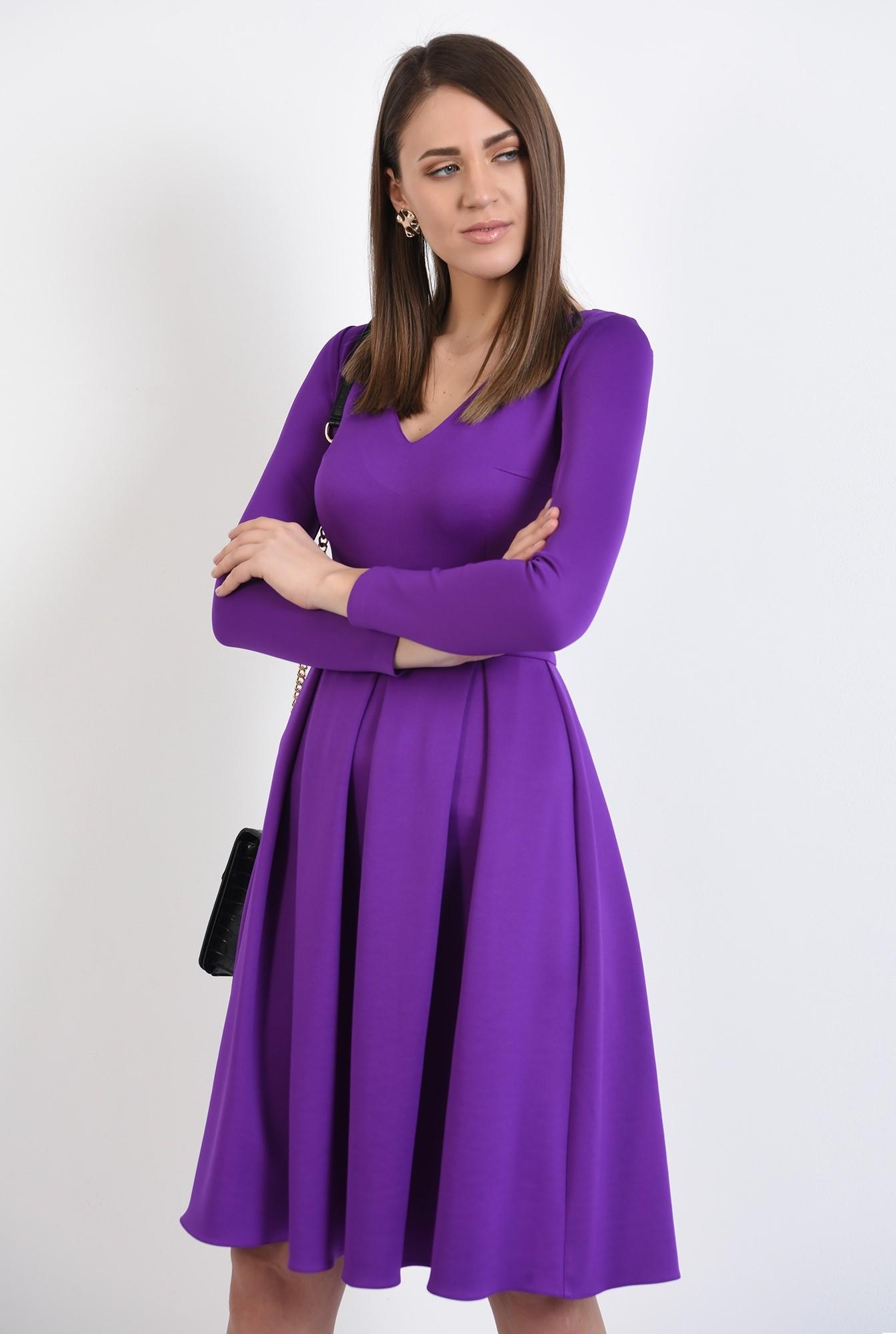 2 - rochie eleganta, evazata, mov, cu pliuri late, maneci stretch