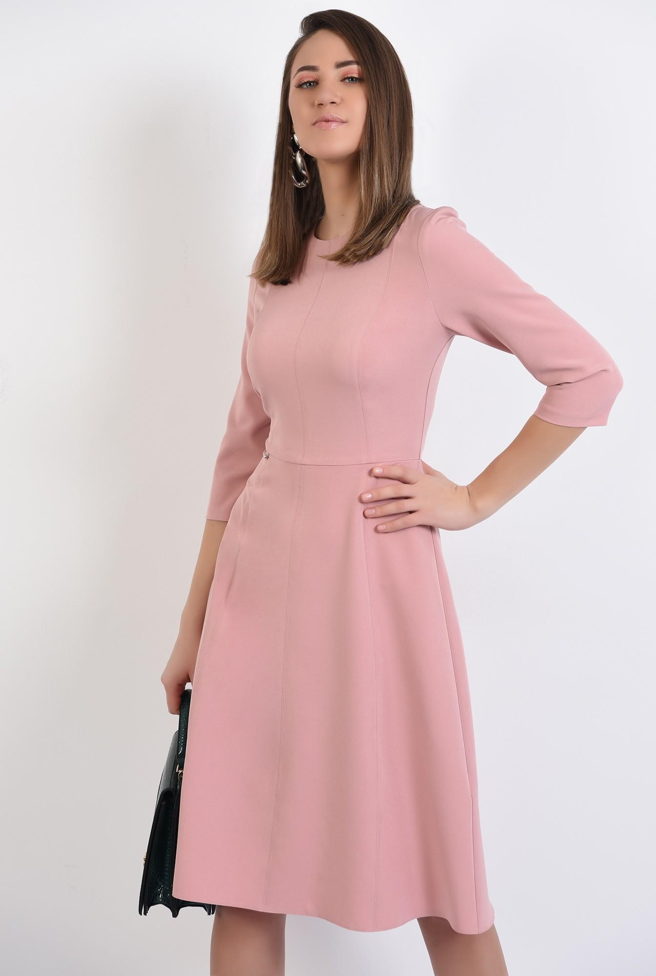 0 -  rochie midi, evazata, roz, rochie de primavara, cusaturi decorative