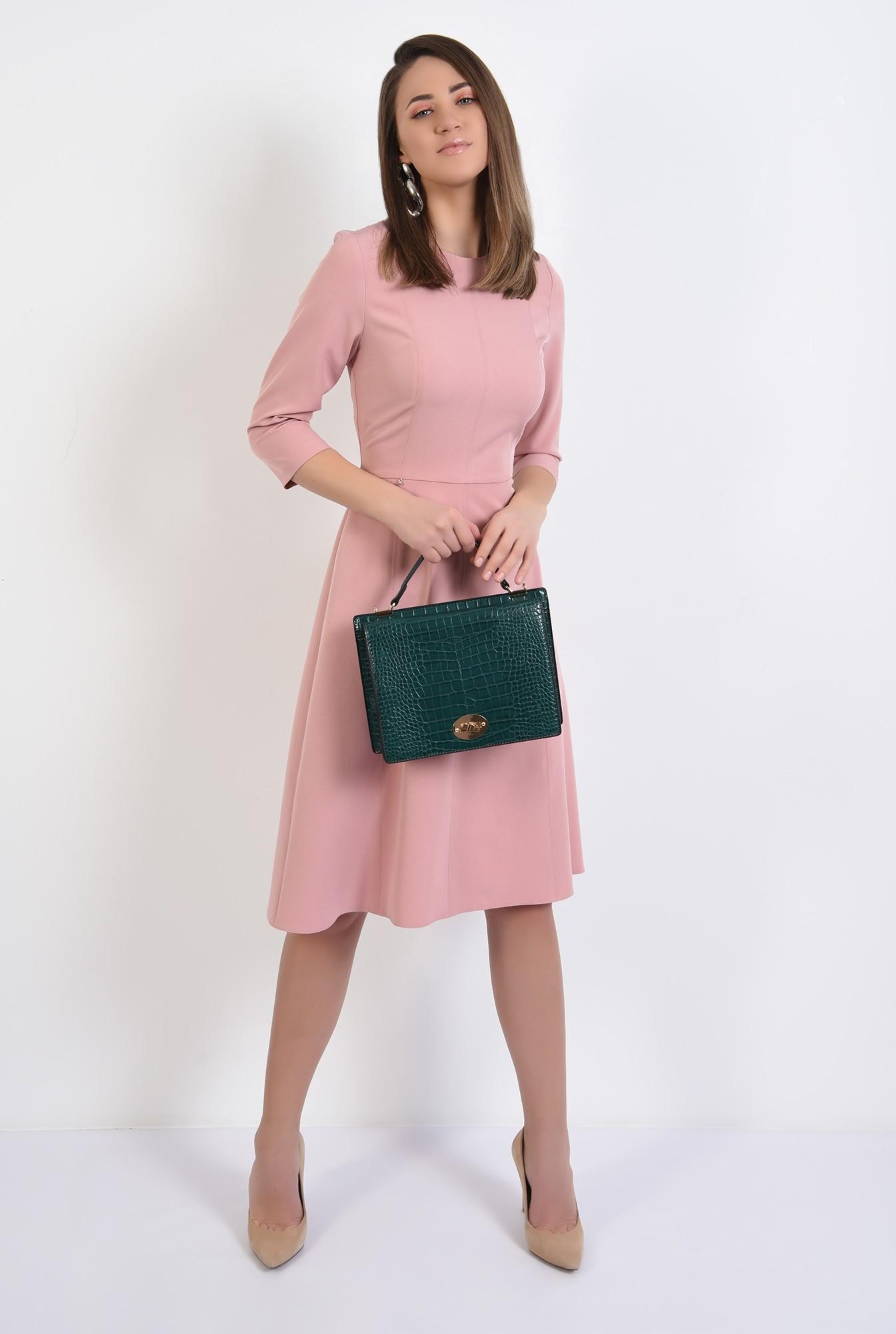 3 -  rochie midi, evazata, roz, rochie de primavara, cusaturi decorative