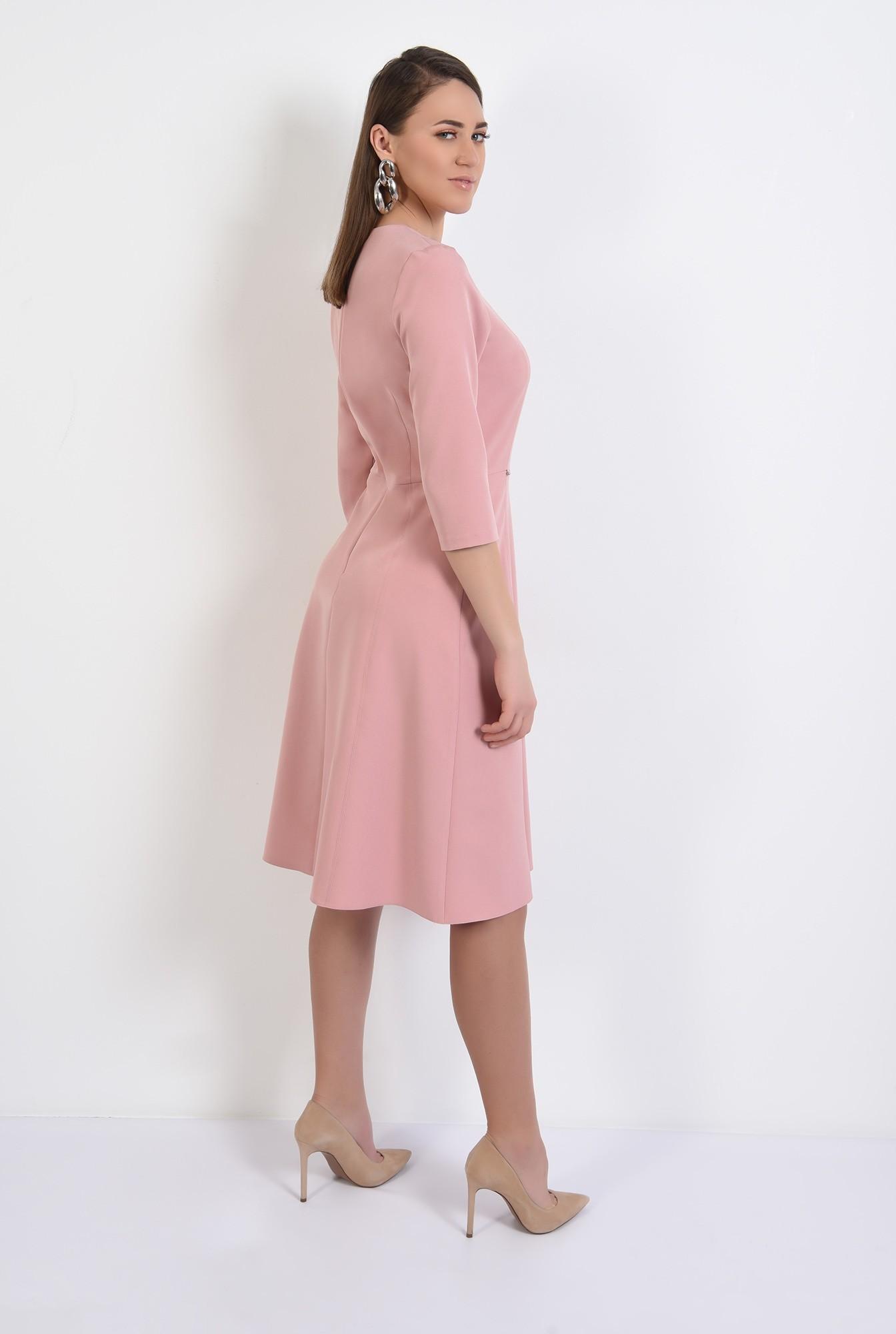 1 -  rochie midi, evazata, roz, rochie de primavara, cusaturi decorative
