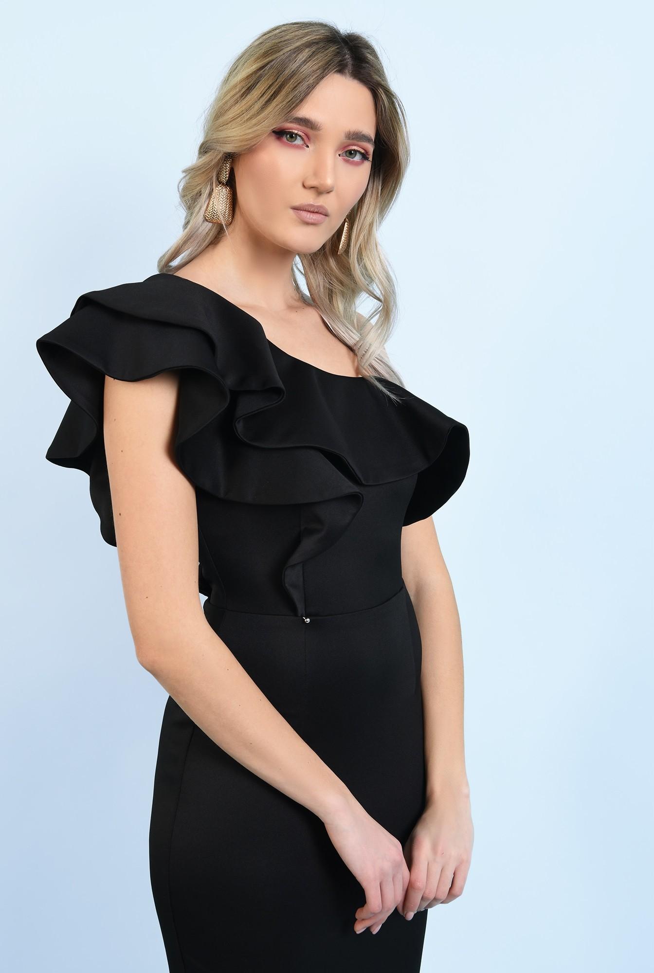 2 - 360 - rochie neagra, midi, conica, cu volane, decolteu asimetric