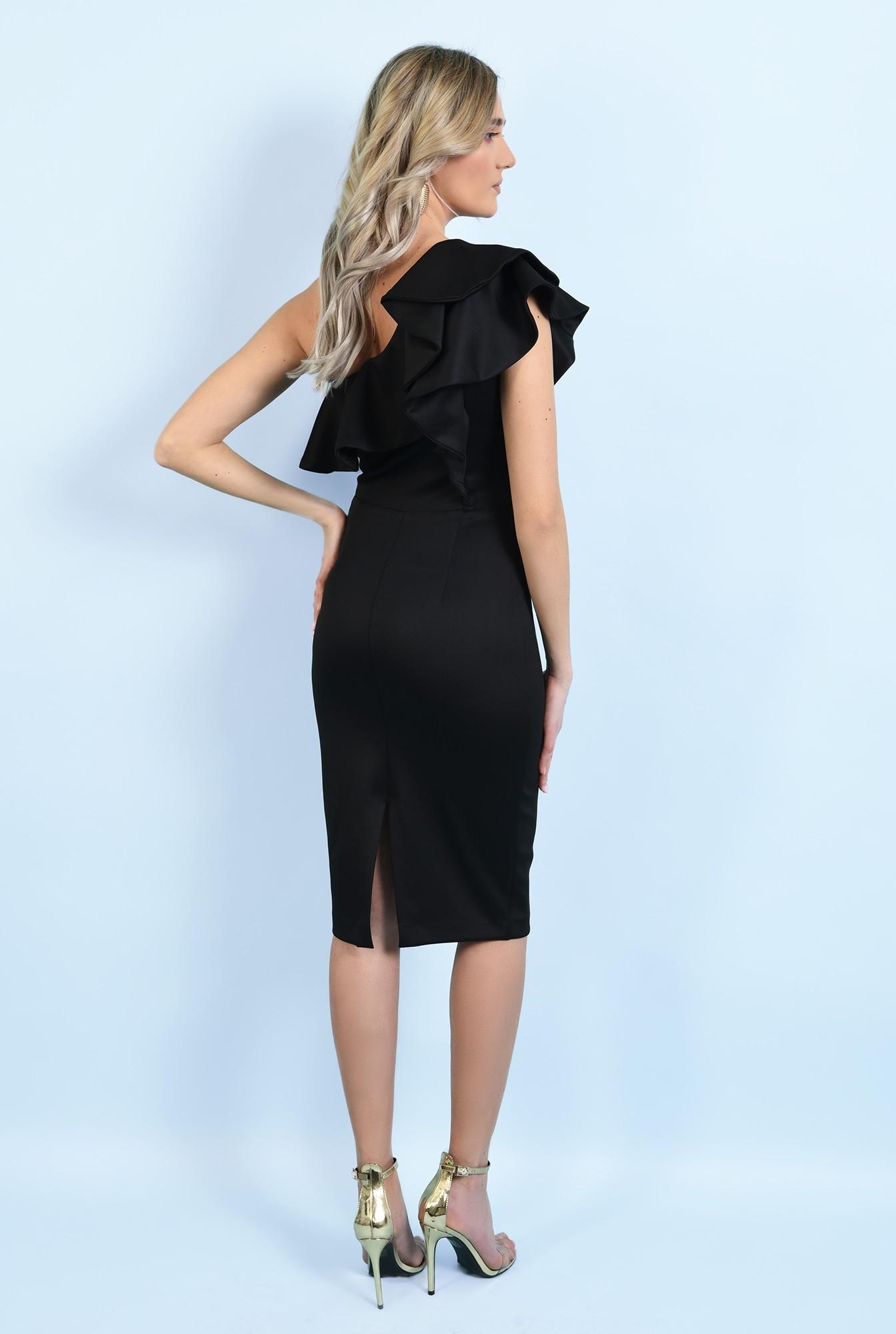 1 - 360 - rochie neagra, midi, conica, cu volane, decolteu asimetric