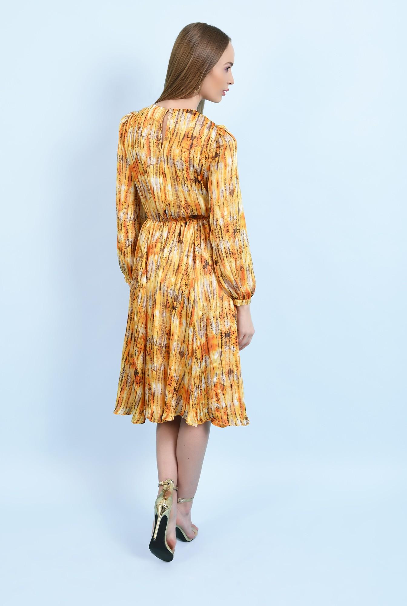 1 - 360 - rochie midi, evazata, cu imprimeu, fir auriu, clos