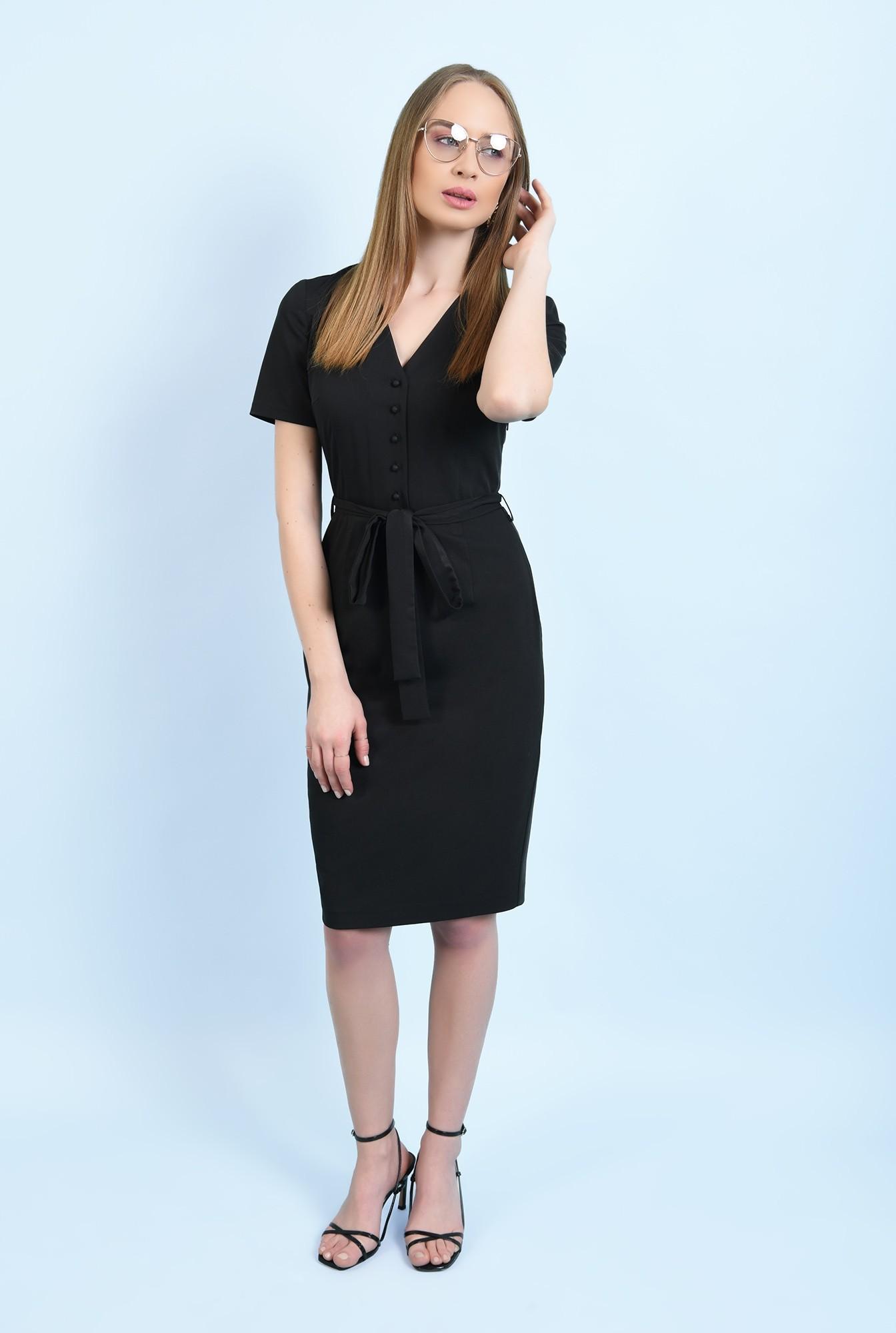 3 - rochie neagra, midi, conica, cu nasturi, cu cordon, rochie de birou