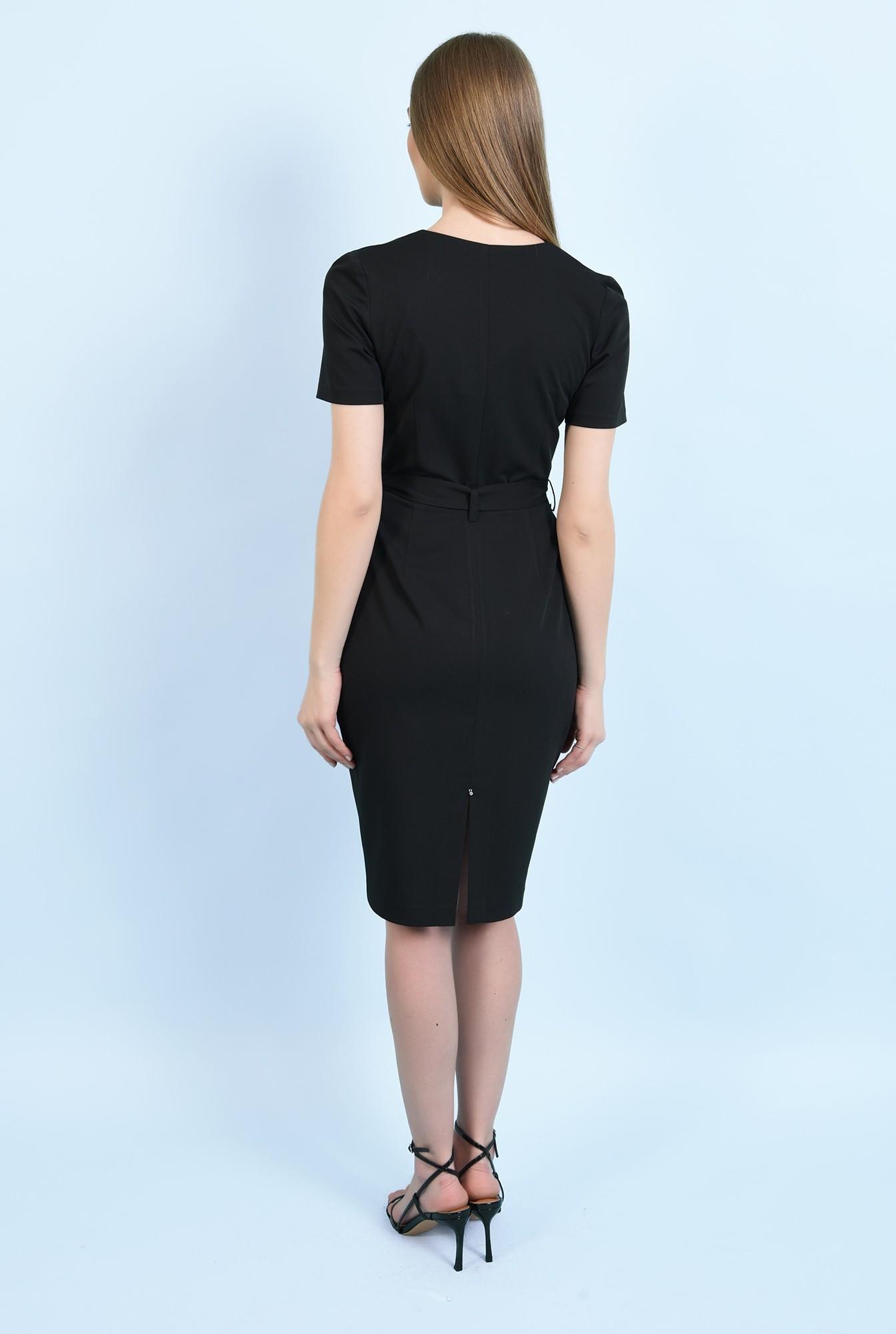 1 - rochie neagra, midi, conica, cu nasturi, cu cordon, rochie de birou