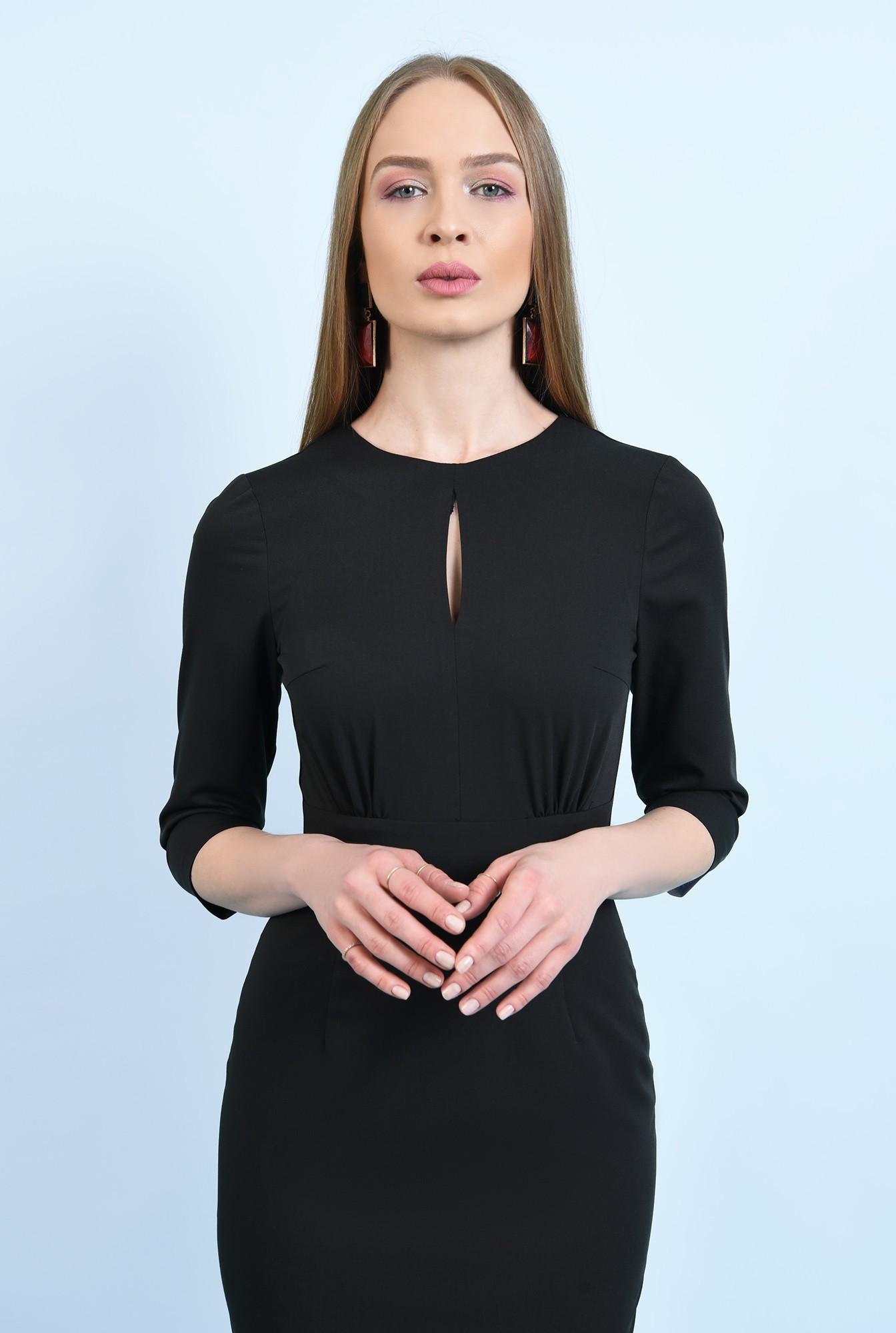 2 -  rochie office, midi, conica, maneci midi, decolteu cu fenta, neagra