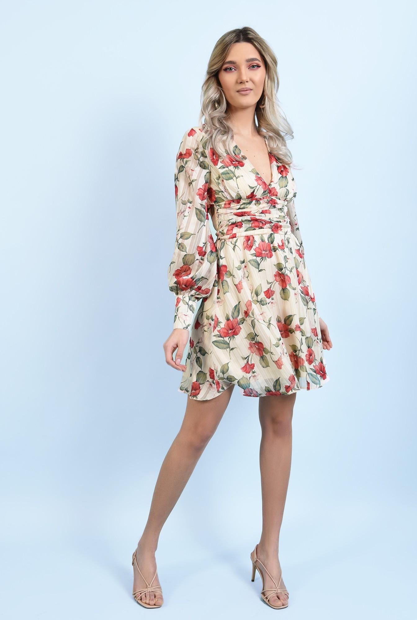 3 - rochie mini, din sifon, cu flori, maneci lungi, betelie fronsata