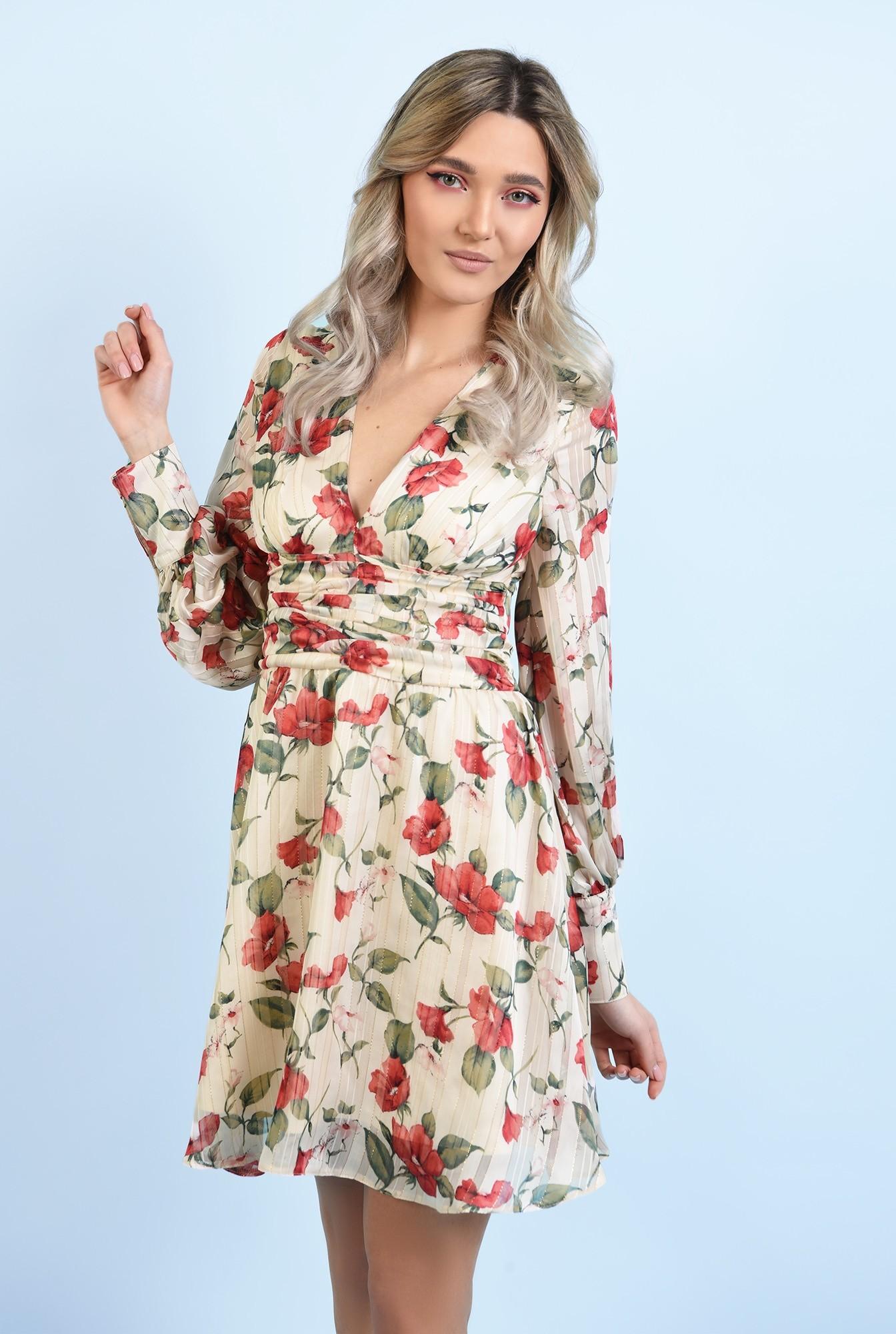 2 - rochie mini, din sifon, cu flori, maneci lungi, betelie fronsata
