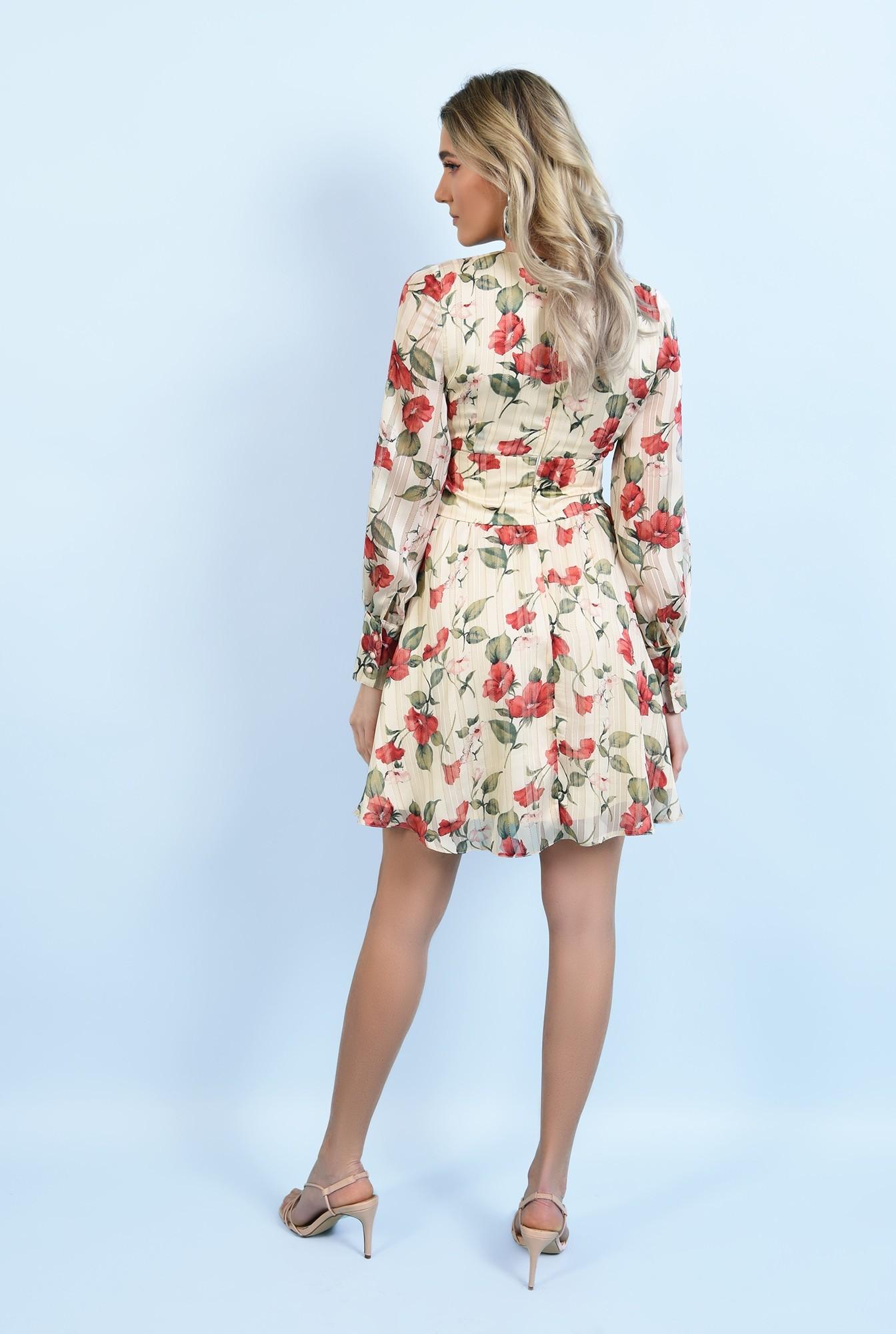 1 - rochie mini, din sifon, cu flori, maneci lungi, betelie fronsata