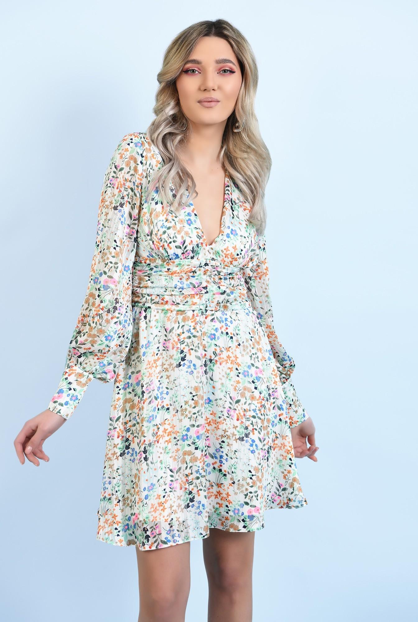 0 - 360 - rochie mini, din sifon, cu flori, maneci lungi, betelie fronsata