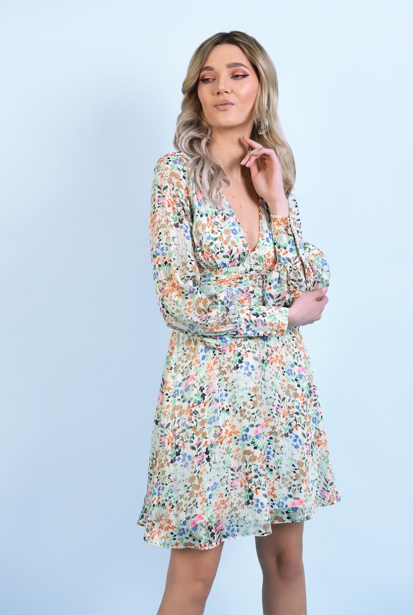 2 - 360 - rochie mini, din sifon, cu flori, maneci lungi, betelie fronsata