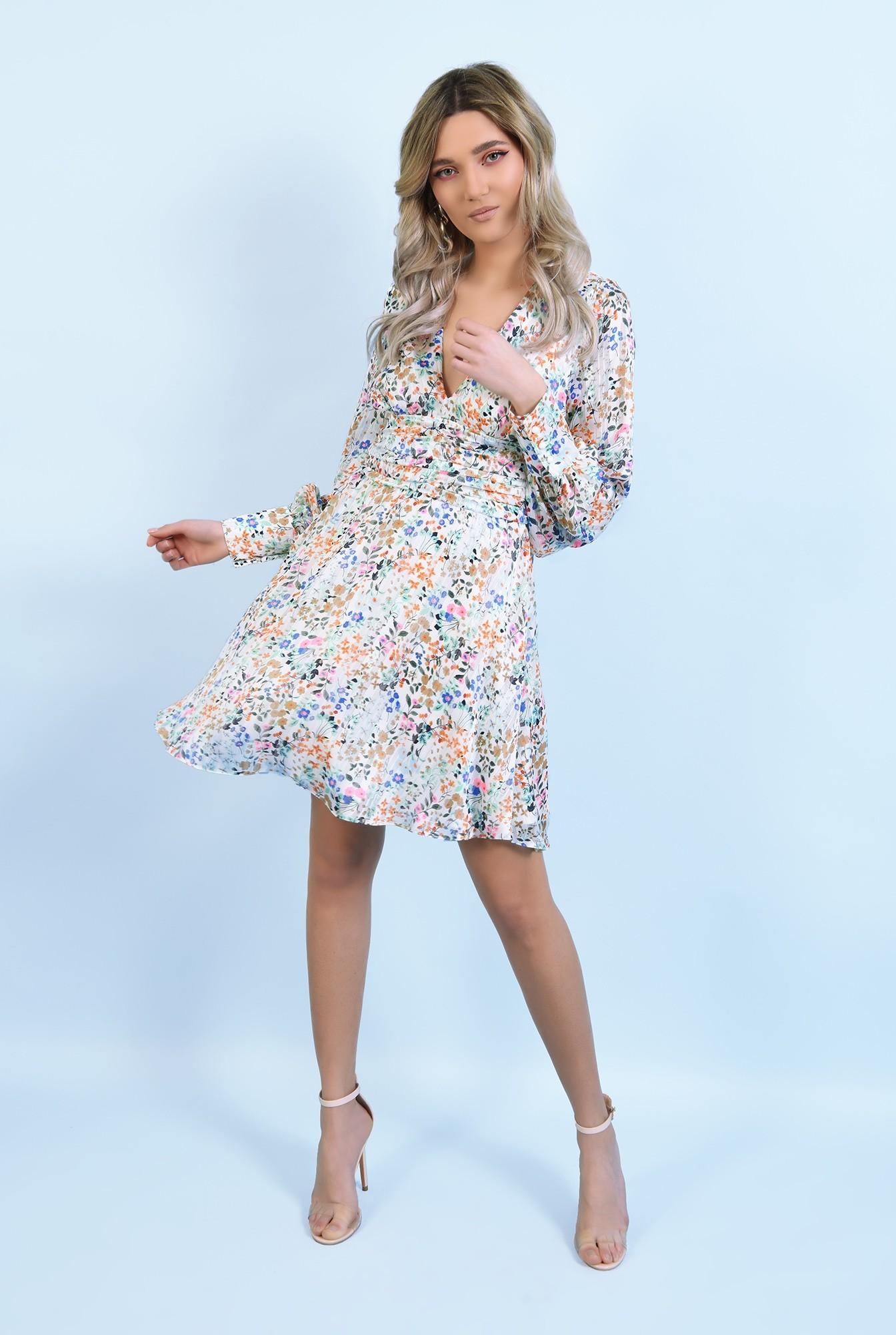 3 - 360 - rochie mini, din sifon, cu flori, maneci lungi, betelie fronsata