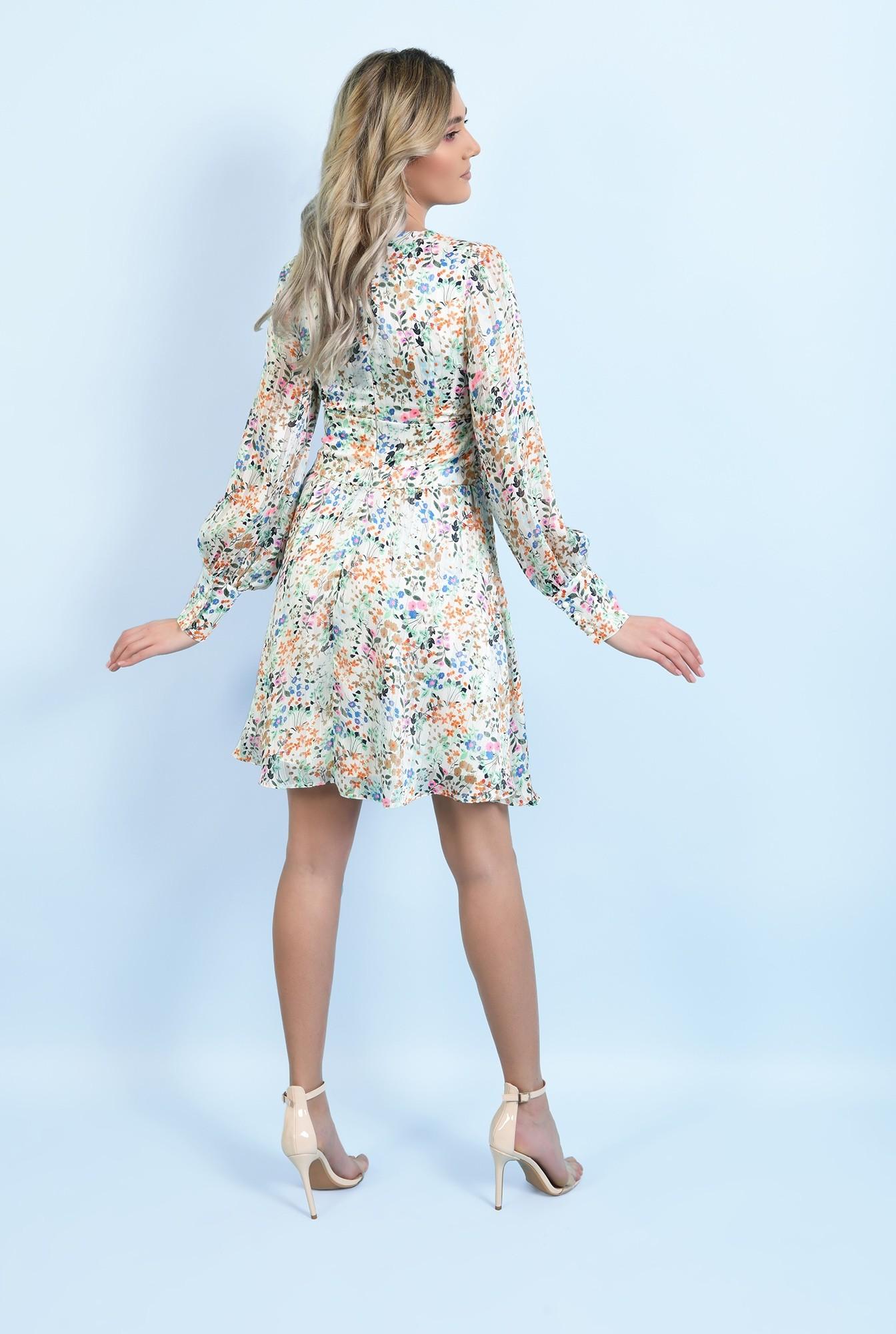 1 - 360 - rochie mini, din sifon, cu flori, maneci lungi, betelie fronsata