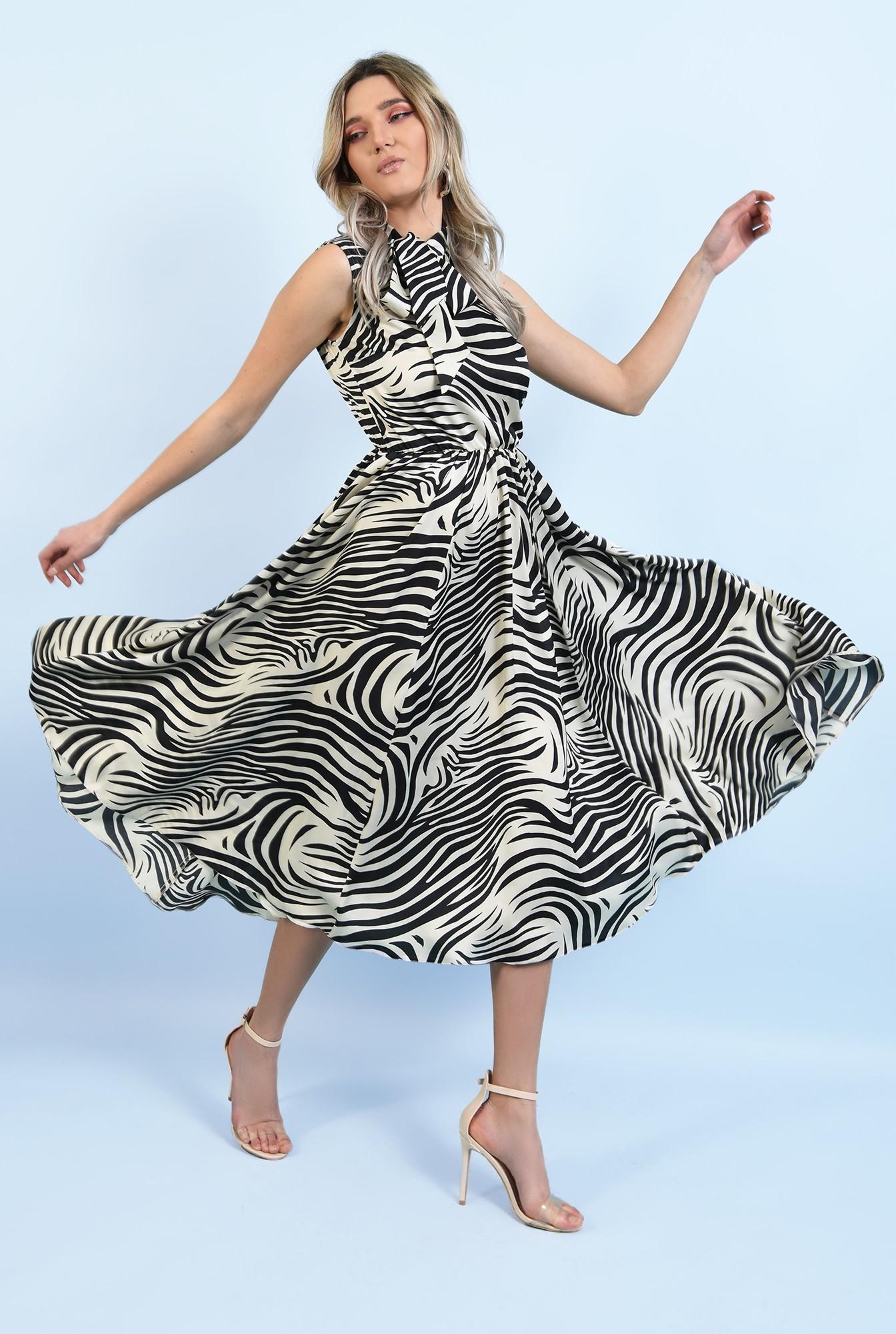3 - rochie eleganta, midi, evazata, fara maneci, print zebra