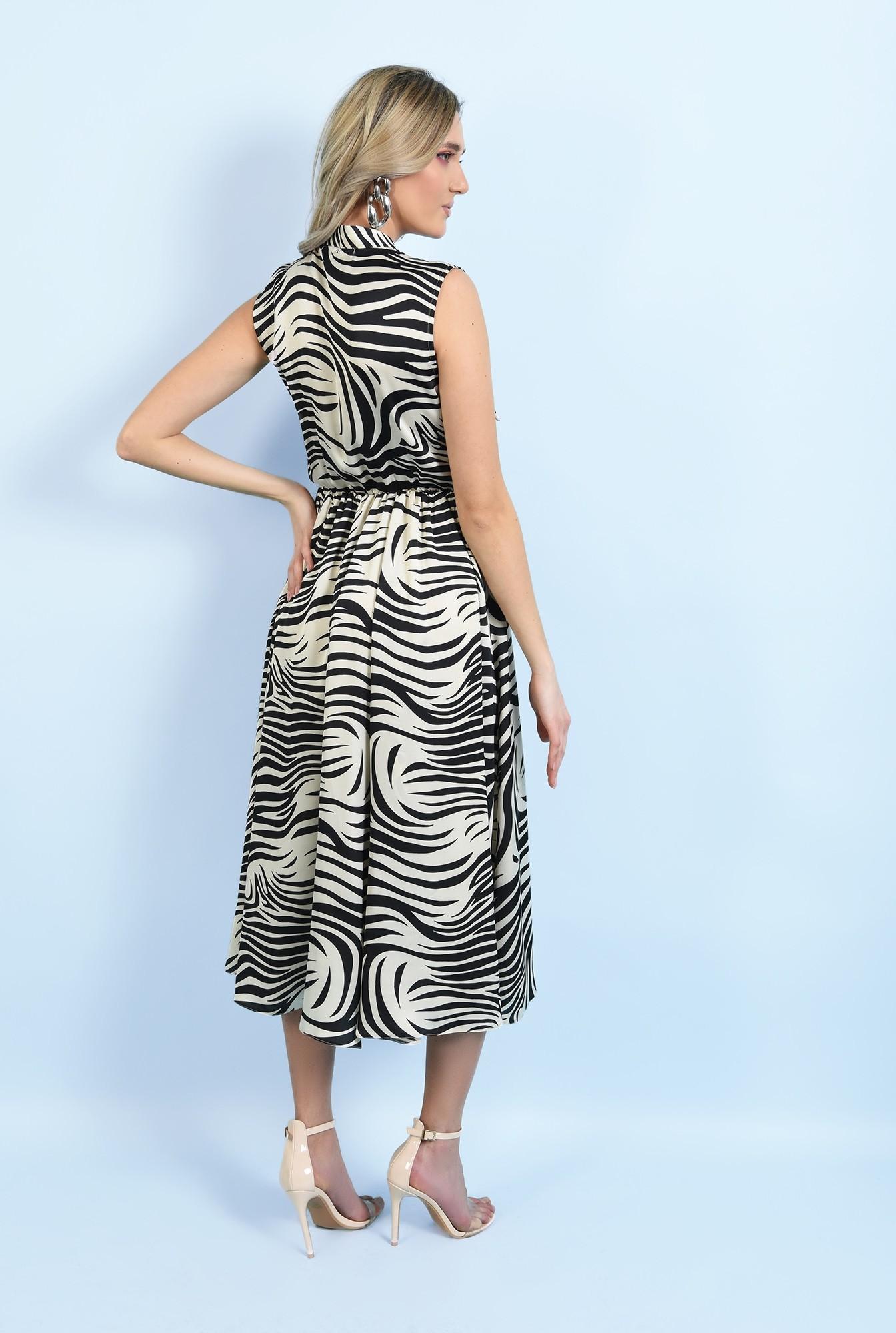 1 - rochie eleganta, midi, evazata, fara maneci, print zebra