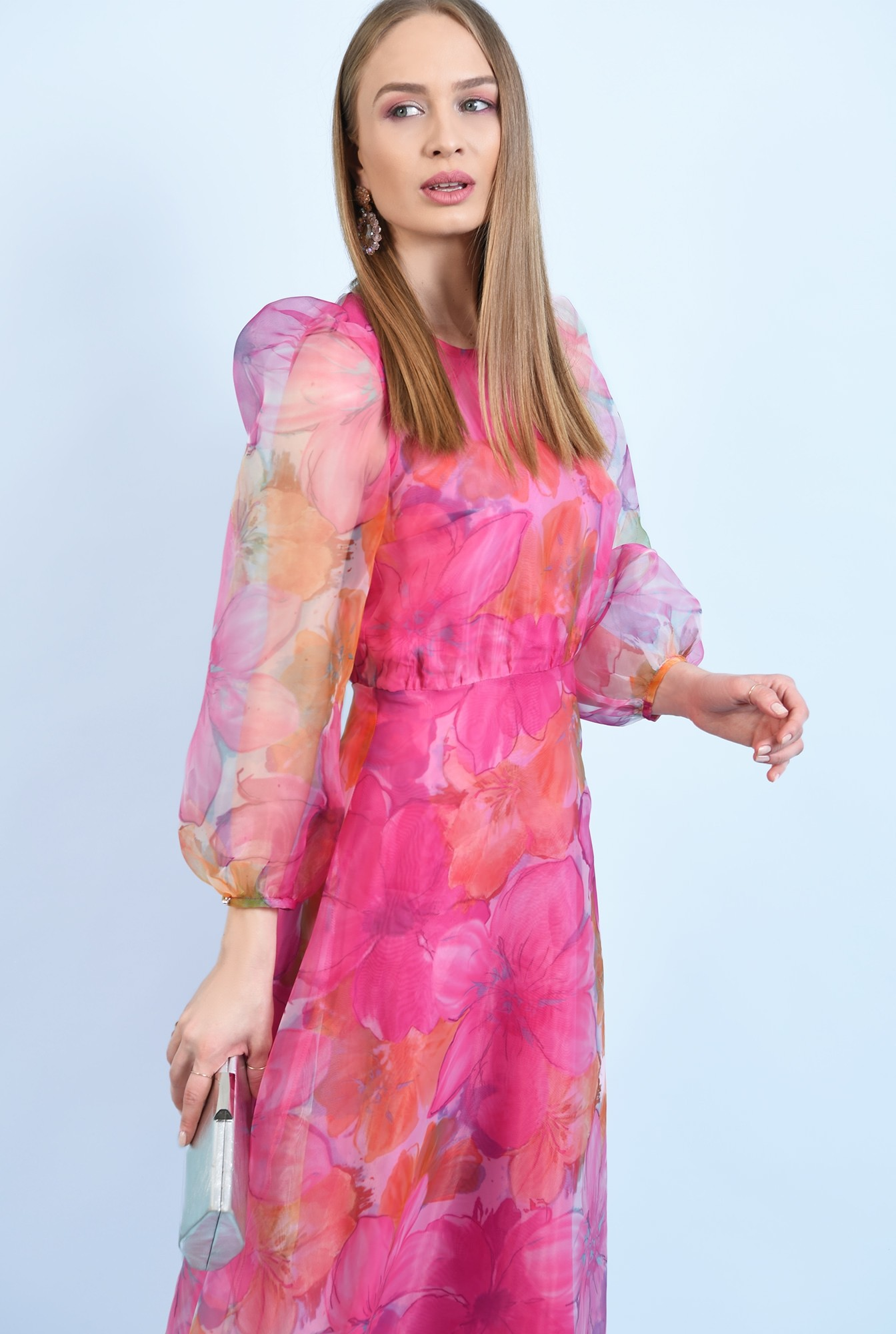 0 - 360 - rochie de ocazie, lunga, clos, organza cu print floral, maneci bufante, Poema