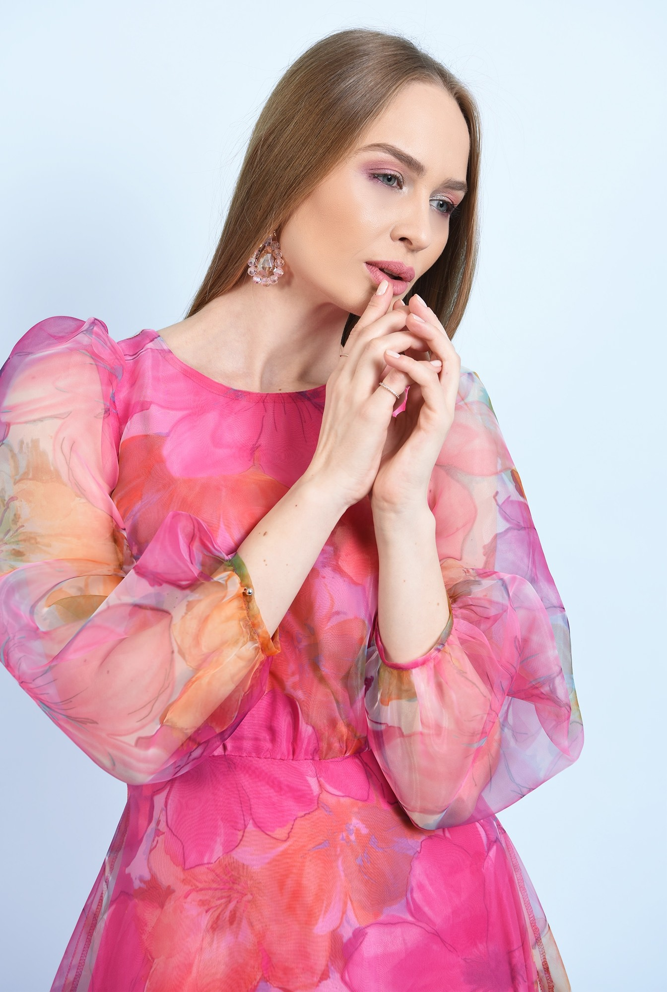 2 - 360 - rochie de ocazie, lunga, clos, organza cu print floral, maneci bufante, Poema