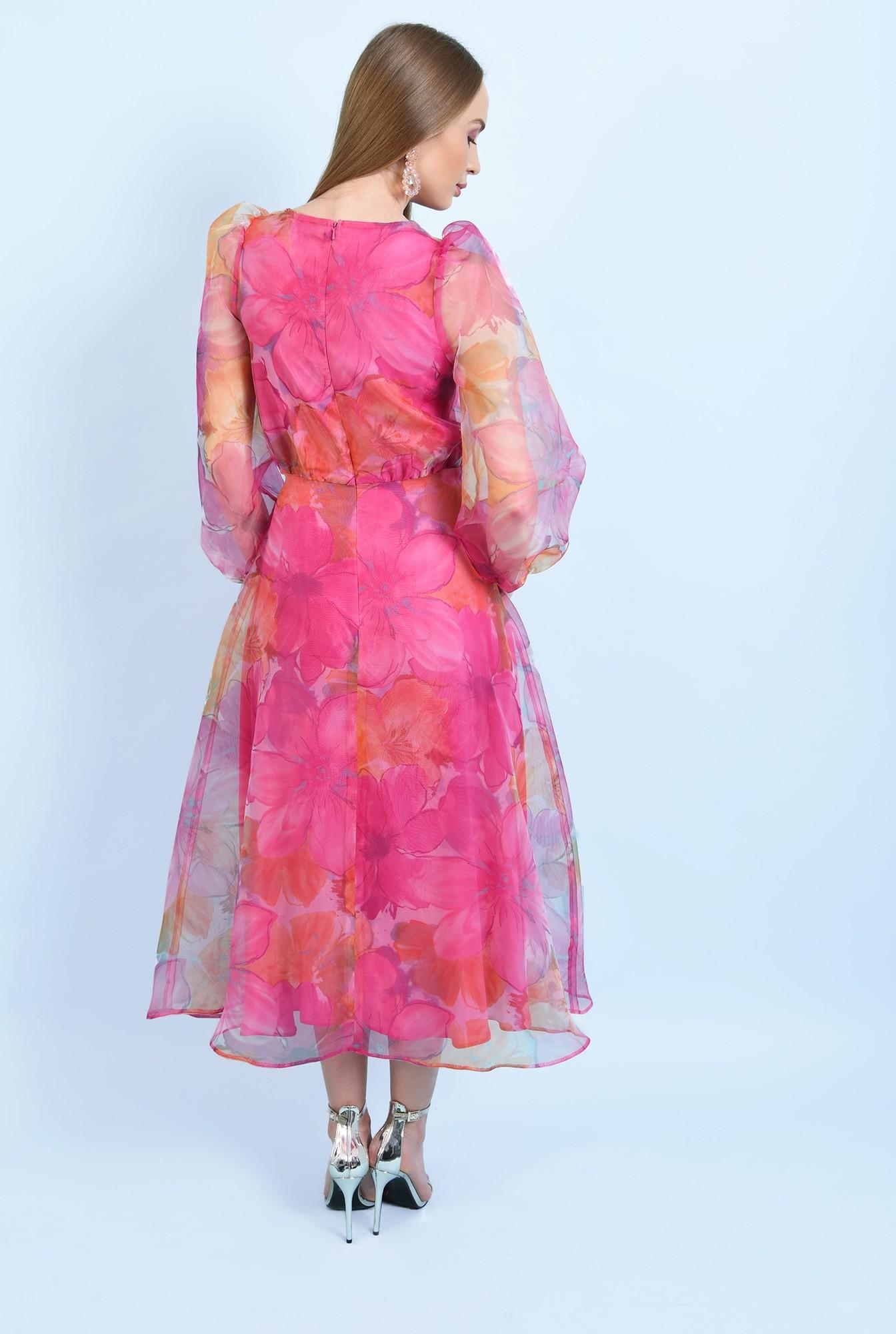 1 - 360 - rochie de ocazie, lunga, clos, organza cu print floral, maneci bufante, Poema