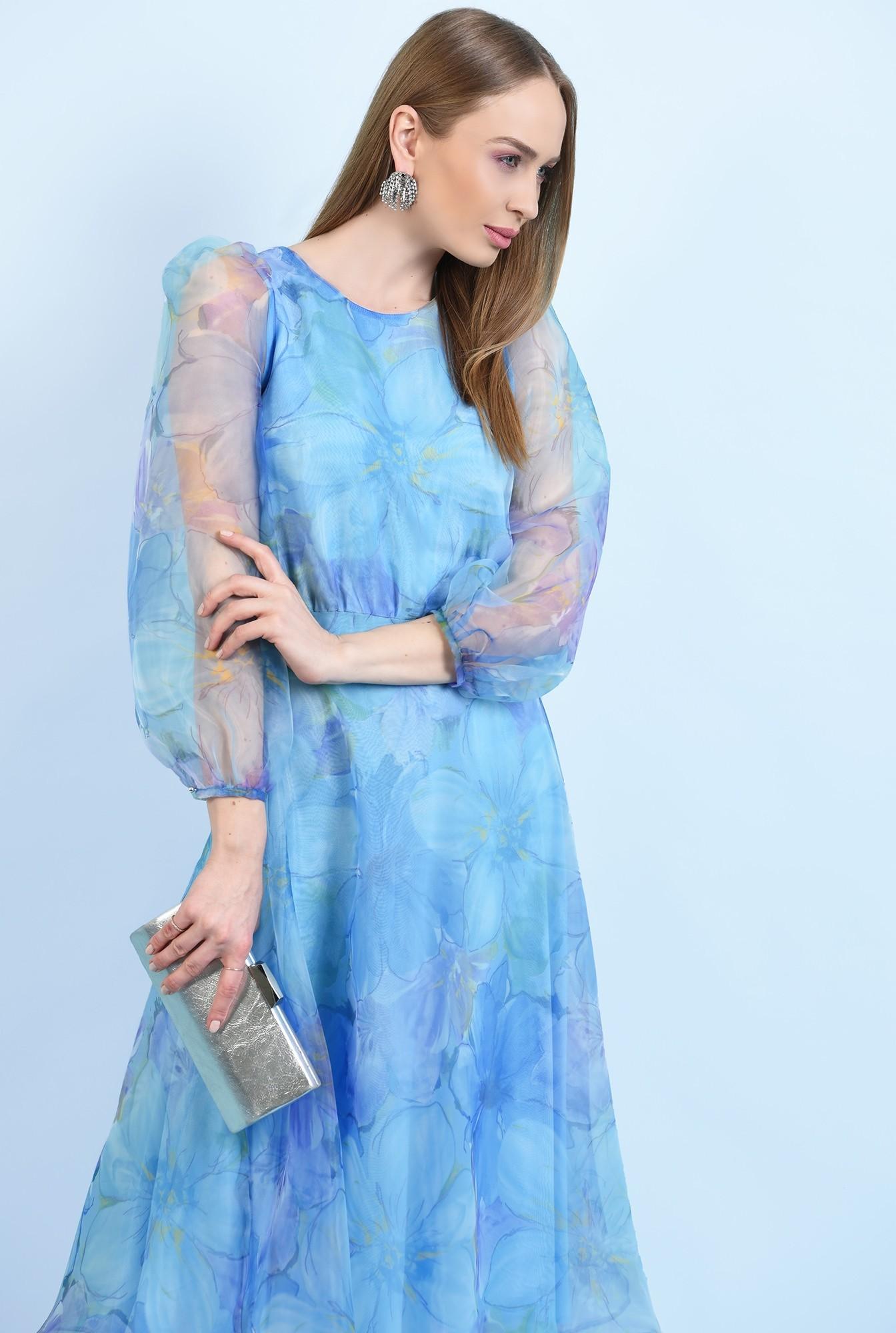 2 - 360 - rochie lunga, eleganta, din organza, maneci bufante, imprimeu floral
