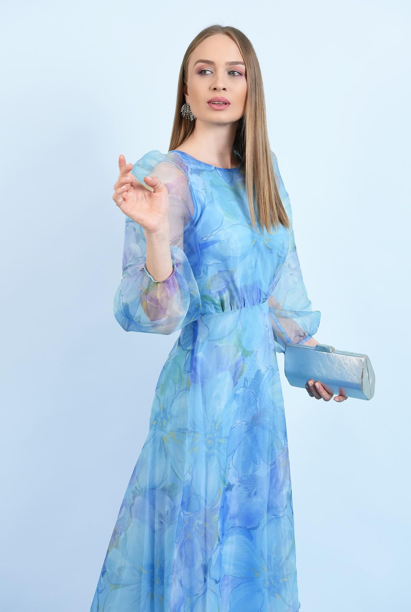 0 - 360 - rochie lunga, eleganta, din organza, maneci bufante, imprimeu floral